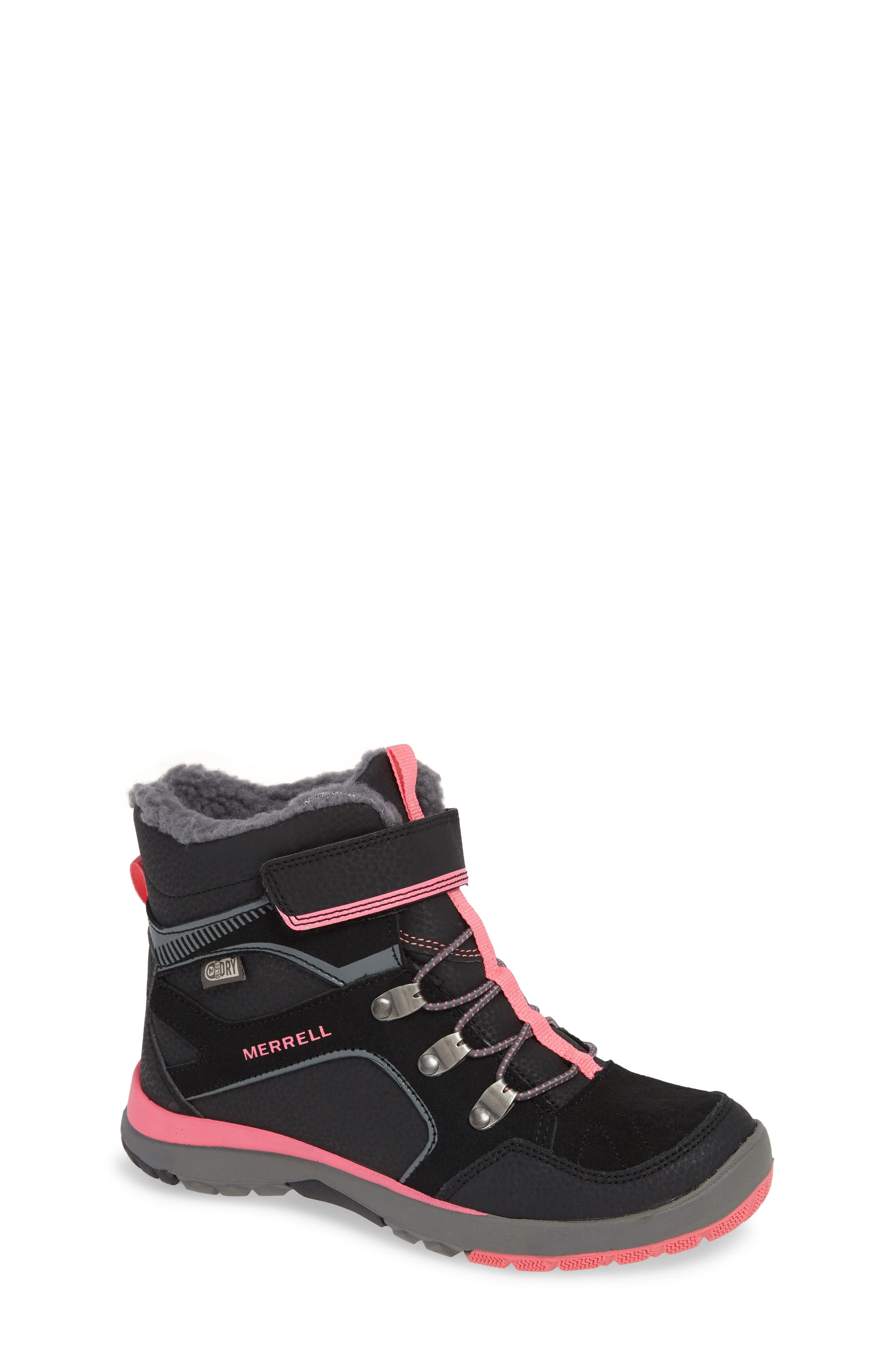 MERRELL,                             Moab FST Polar Mid Waterproof Insulated Sneaker Boot,                             Main thumbnail 1, color,                             BLACK/ PINK