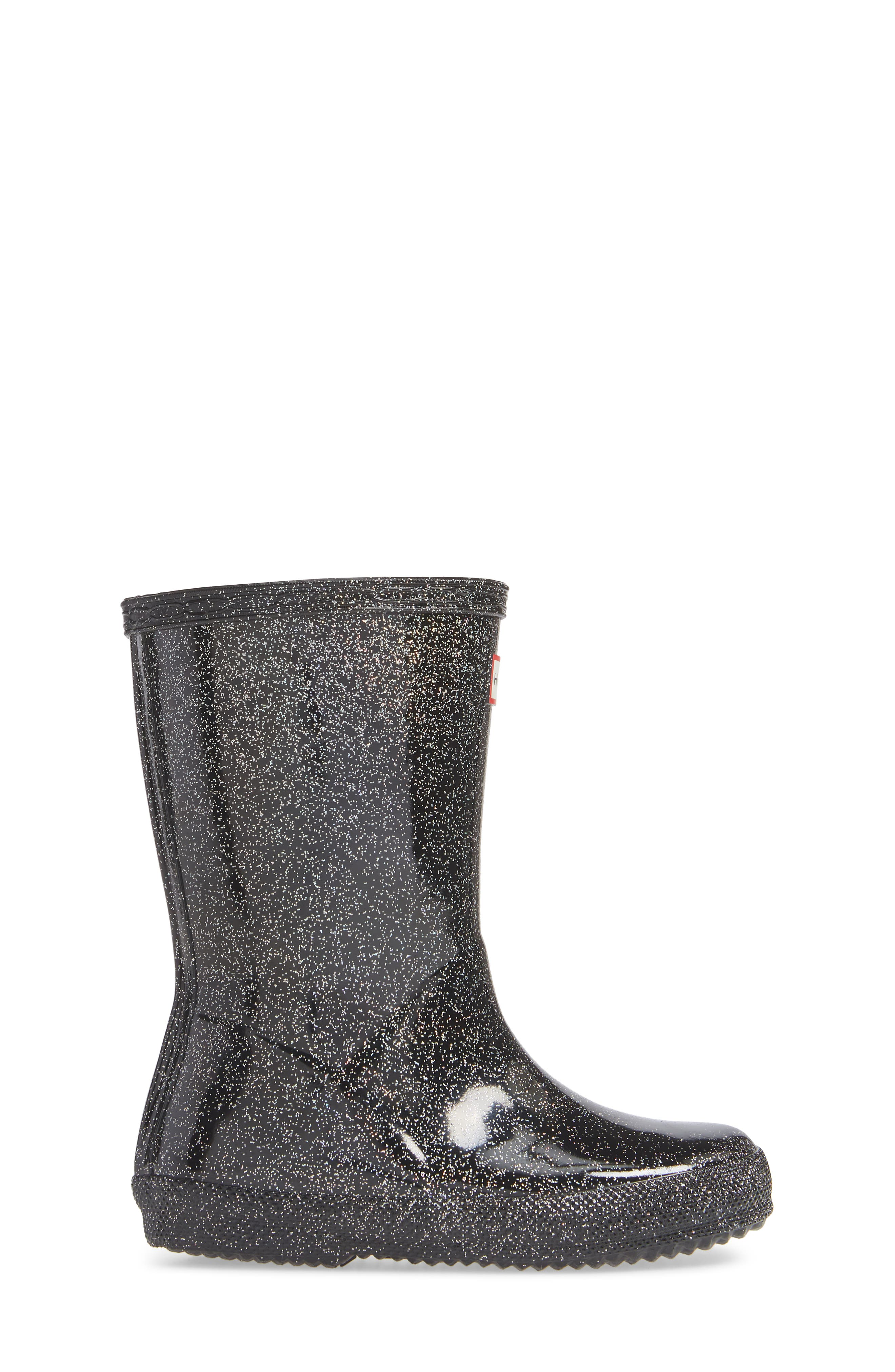 HUNTER,                             Kids First Classic Starcloud Glitter Rain Boot,                             Alternate thumbnail 3, color,                             BLACK MULTI