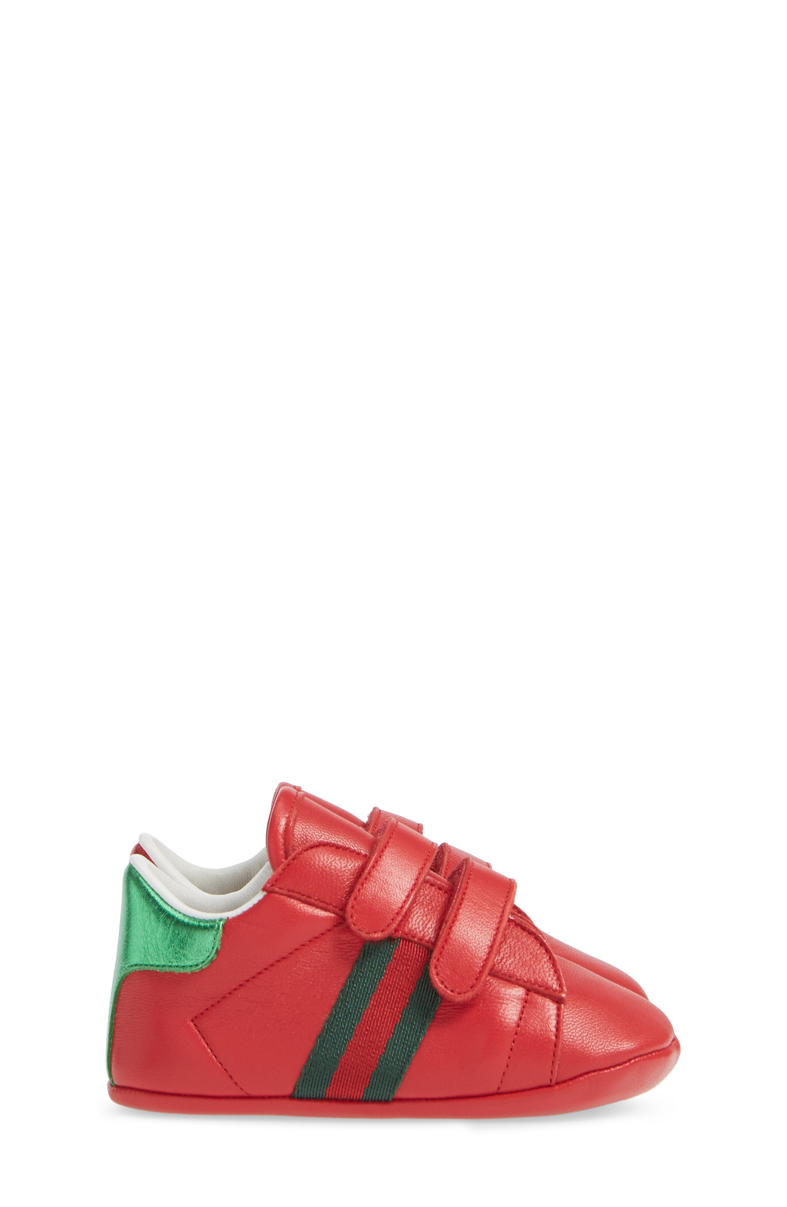 GUCCI,                             Ace Crib Shoe,                             Alternate thumbnail 4, color,                             RED