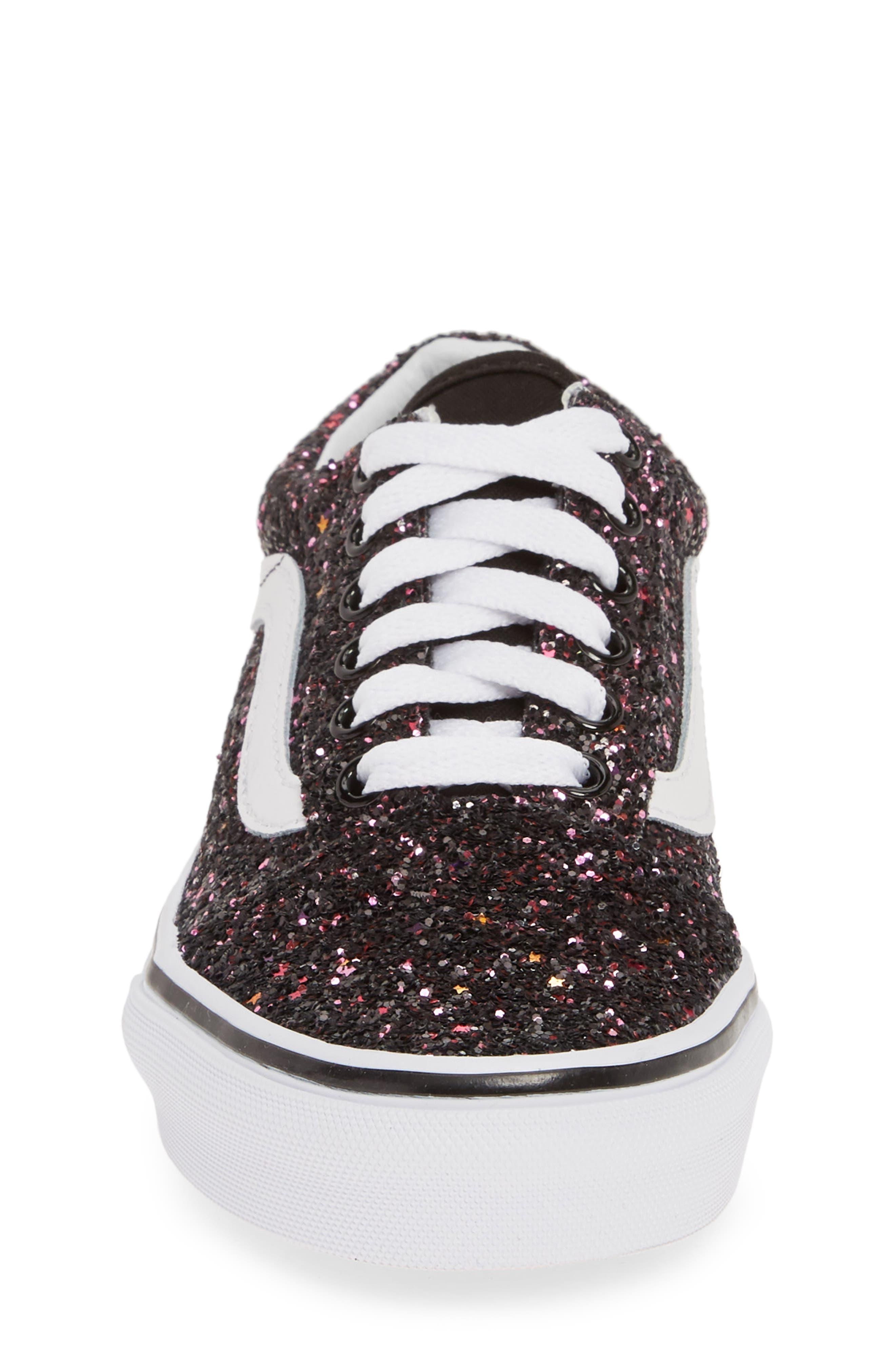 VANS,                             Old Skool Sneaker,                             Alternate thumbnail 4, color,                             GLITTER STARS BLACK/ WHITE