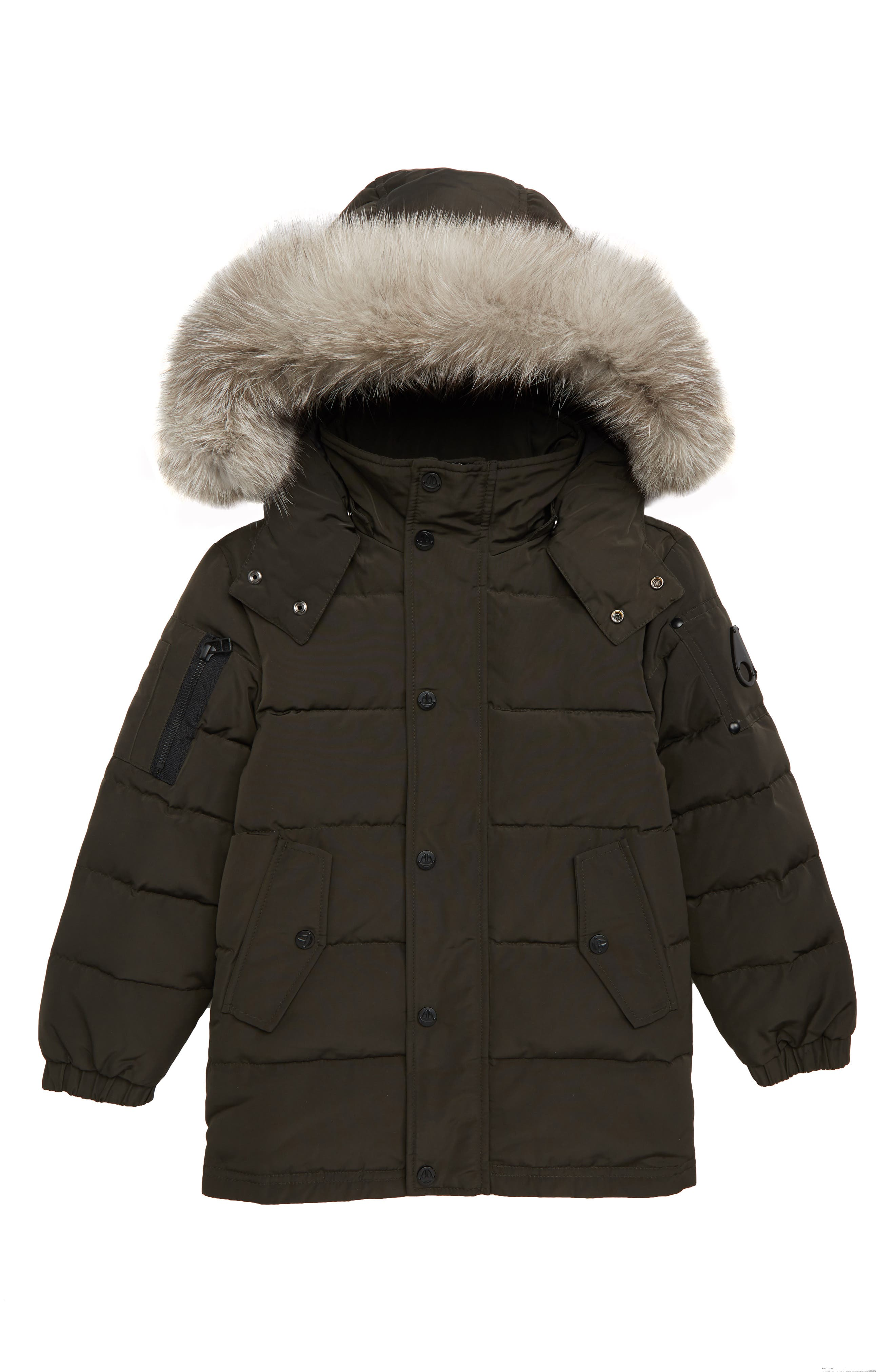 MOOSE KNUCKLES Midcore Quilted Hooded Parka with Genuine Fox Fur Trim, Main, color, GREY
