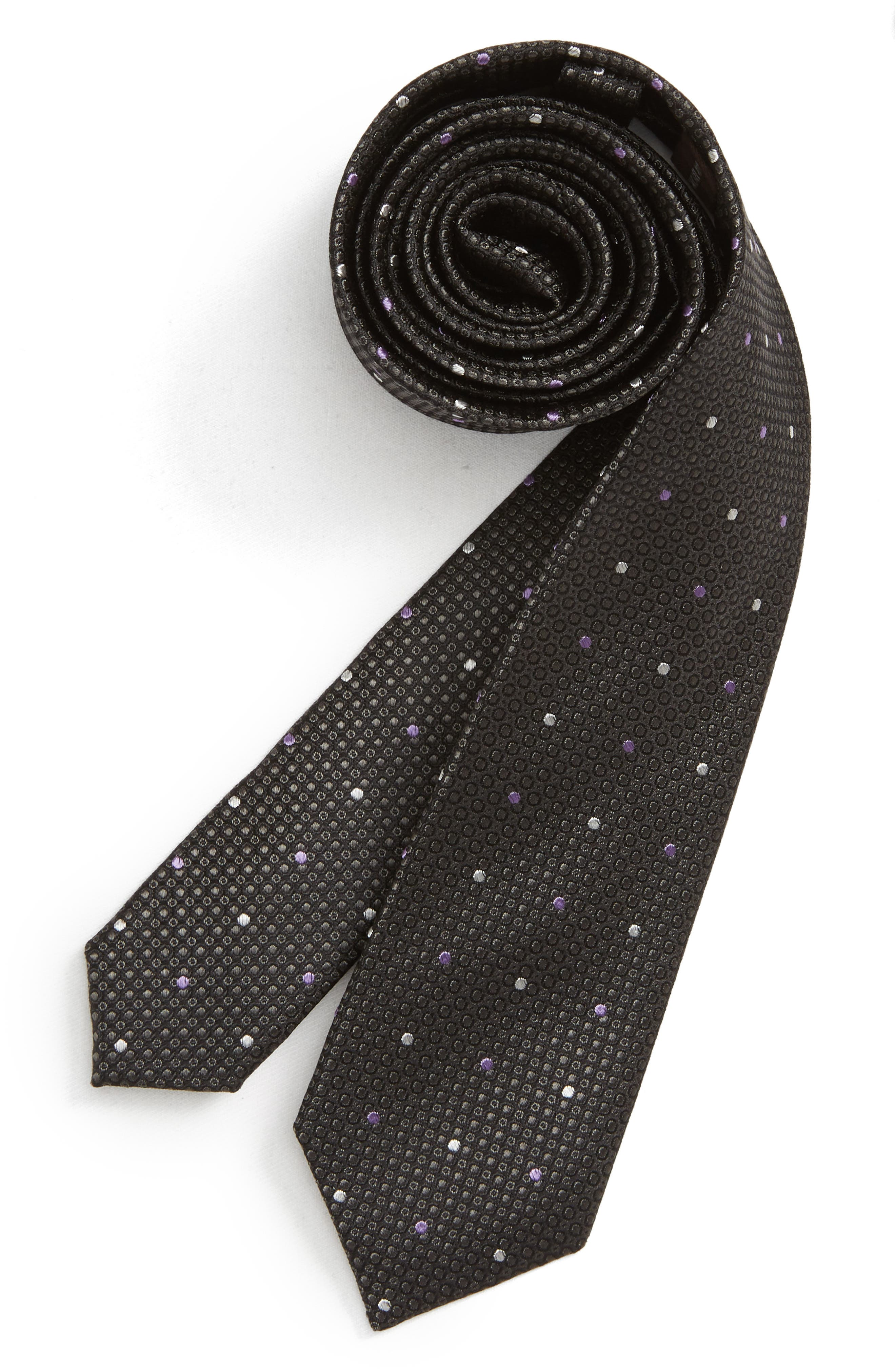 MICHAEL KORS Dot Silk Tie, Main, color, BLACK