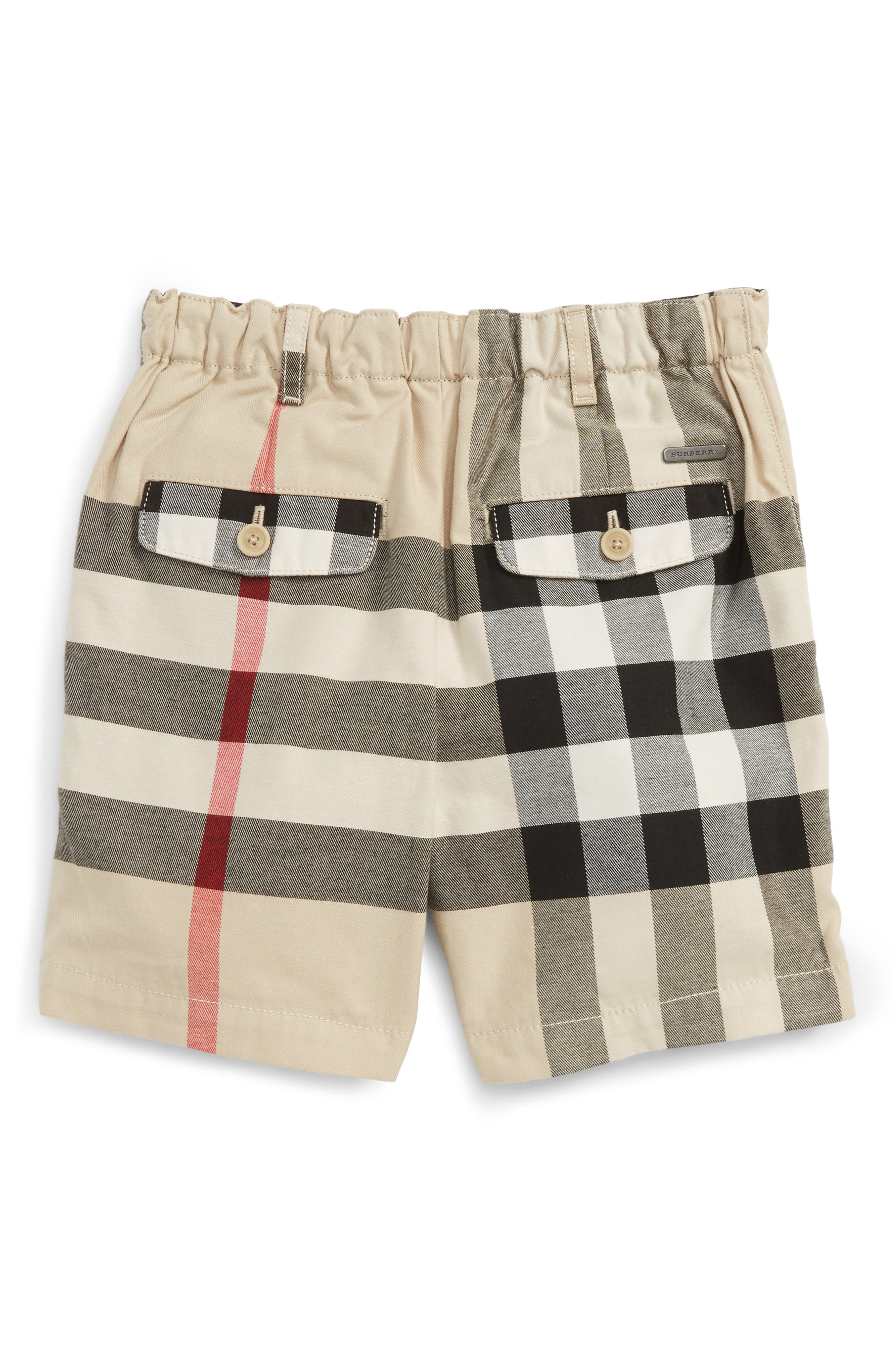 BURBERRY,                             Sean Check Print Shorts,                             Alternate thumbnail 2, color,                             250