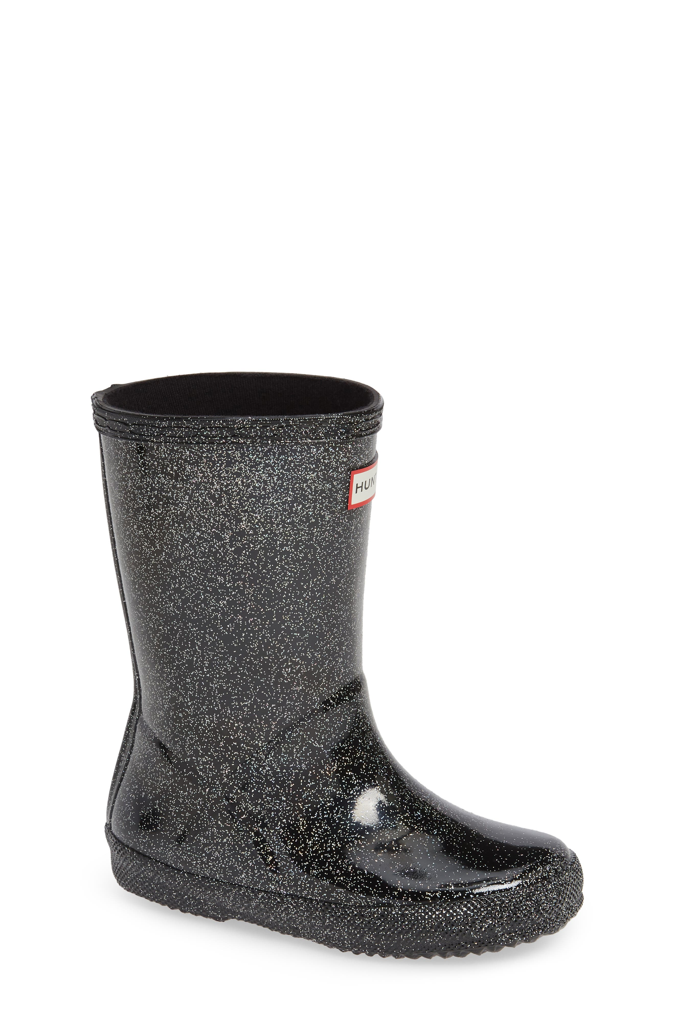 HUNTER,                             Kids First Classic Starcloud Glitter Rain Boot,                             Main thumbnail 1, color,                             BLACK MULTI