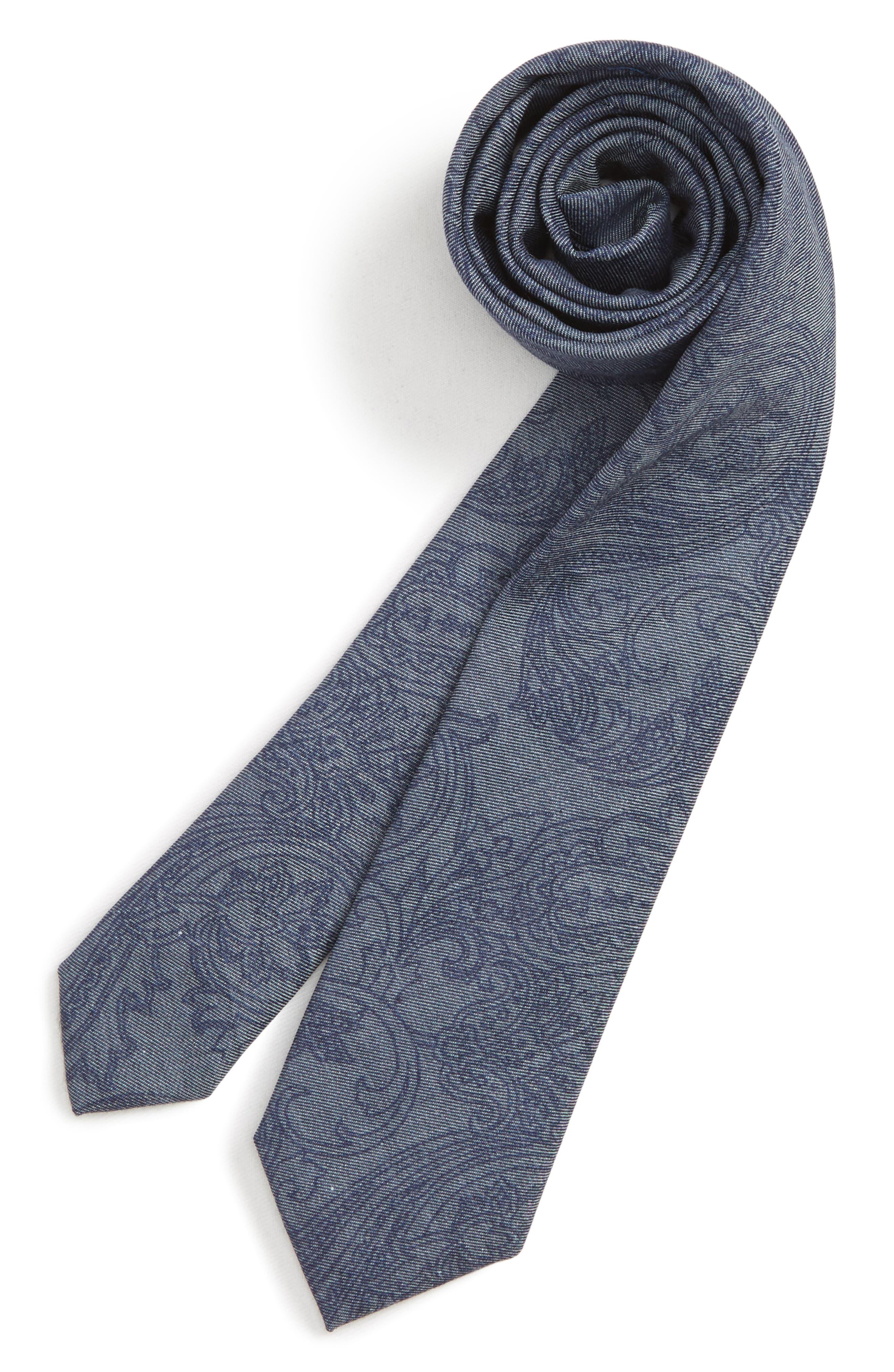NORDSTROM,                             Paisley Cotton Blend Tie,                             Main thumbnail 1, color,                             NAVY