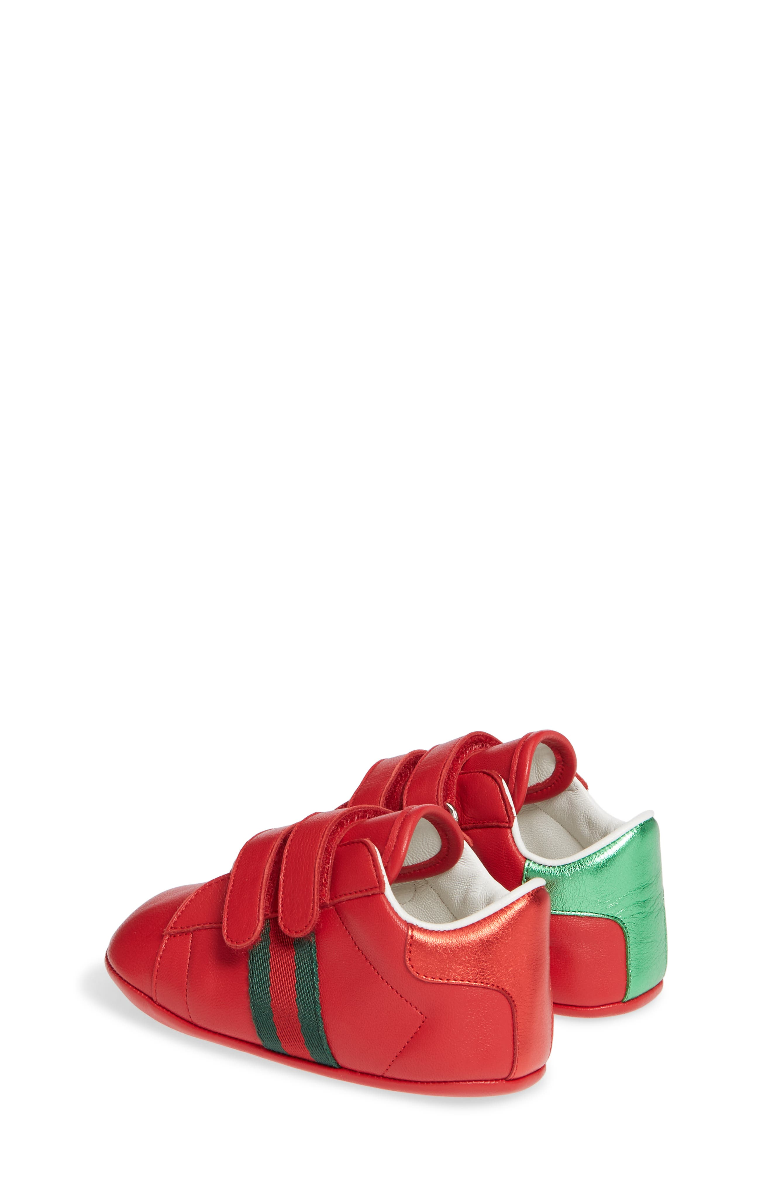GUCCI,                             Ace Crib Shoe,                             Alternate thumbnail 3, color,                             RED