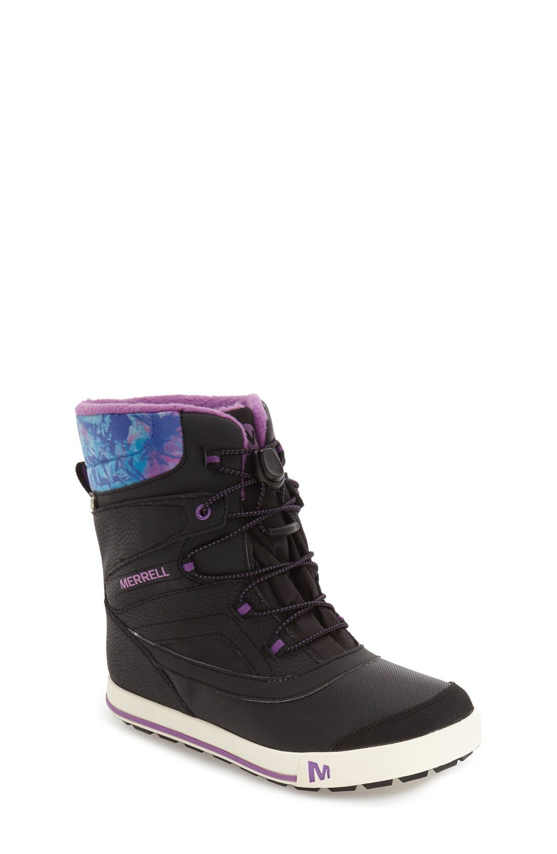 MERRELL,                             'Snow Bank 2' Waterproof Boot,                             Main thumbnail 1, color,                             BLACK/ PRINT/ BERRY LEATHER