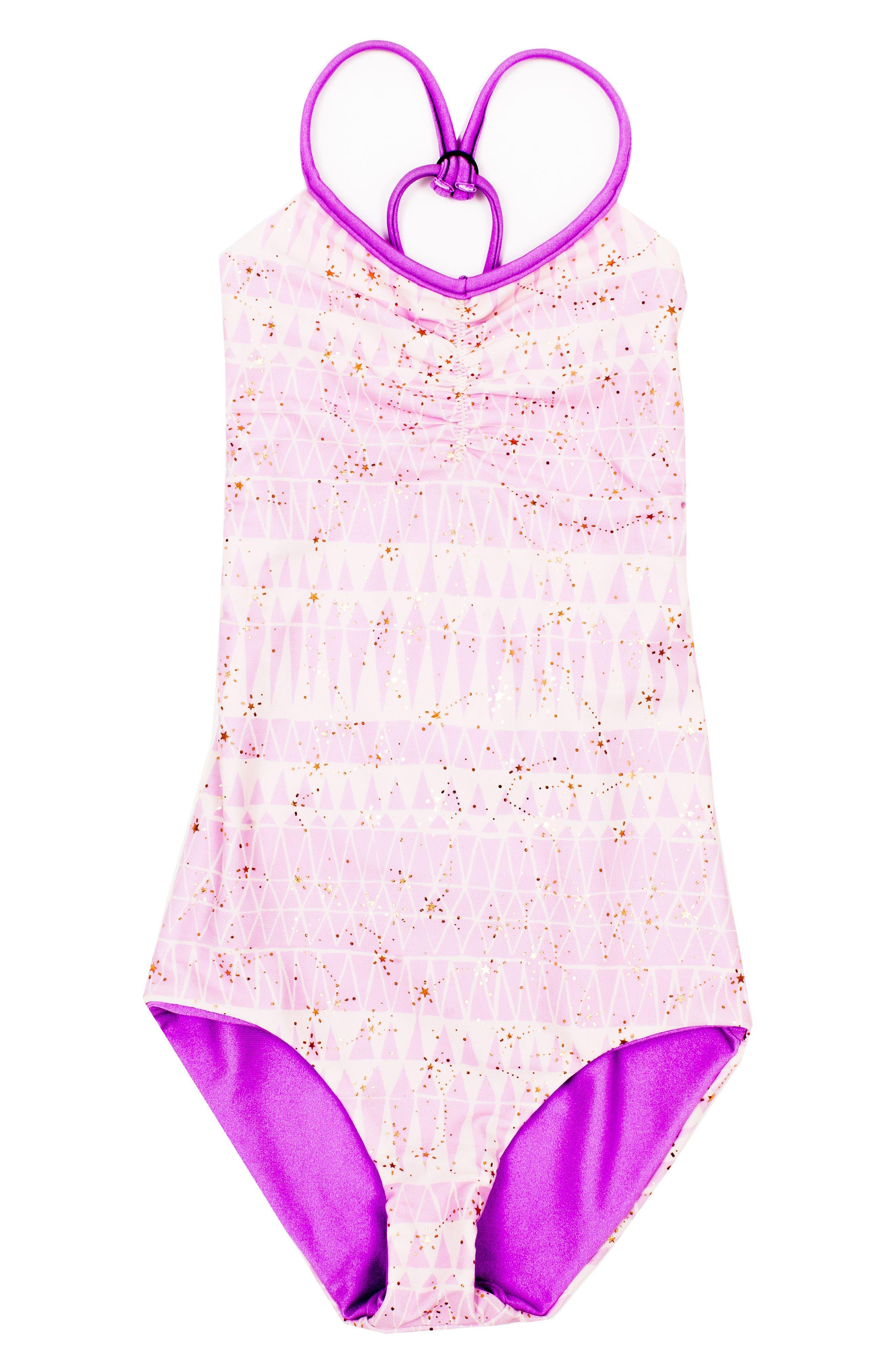 BOWIE X JAMES Catalinakini One-Piece Reversible Swimsuit, Main, color, LAVENDER