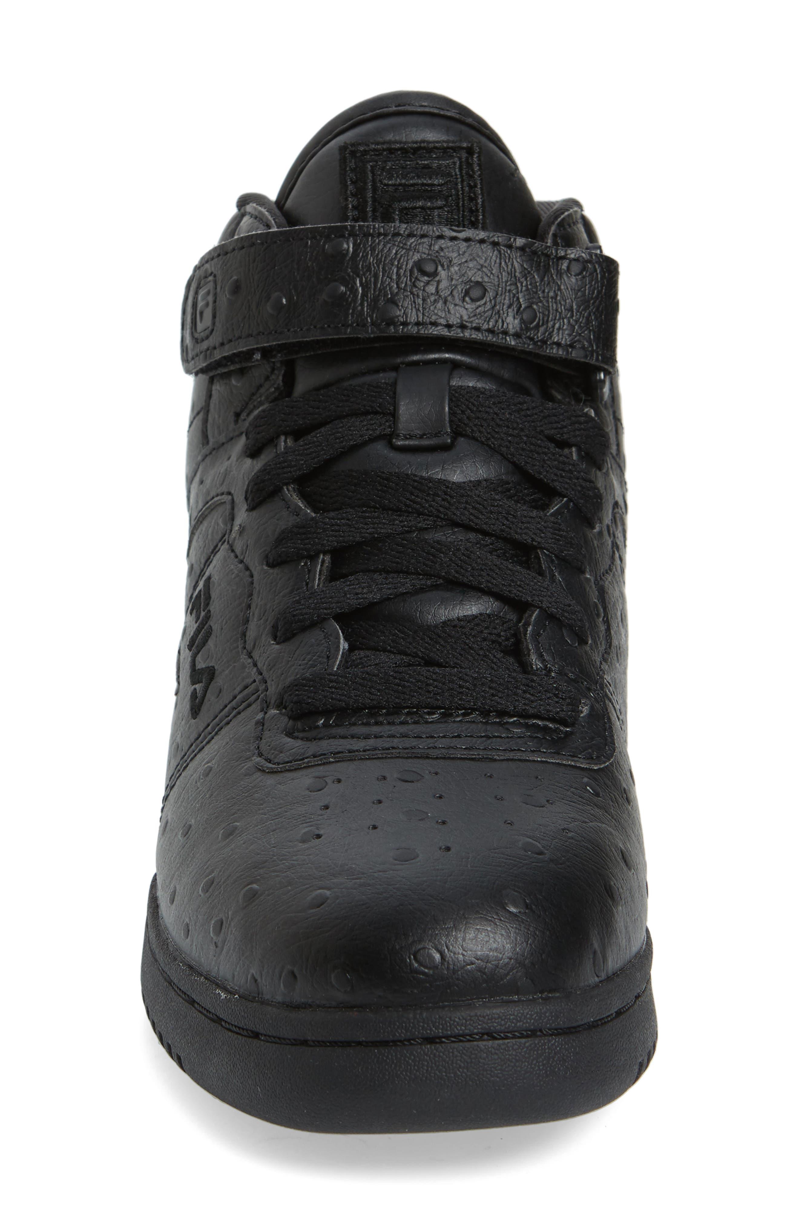 FILA,                             F-13 Ostrich Embossed High Top Sneaker,                             Alternate thumbnail 3, color,                             TRIPLE BLACK