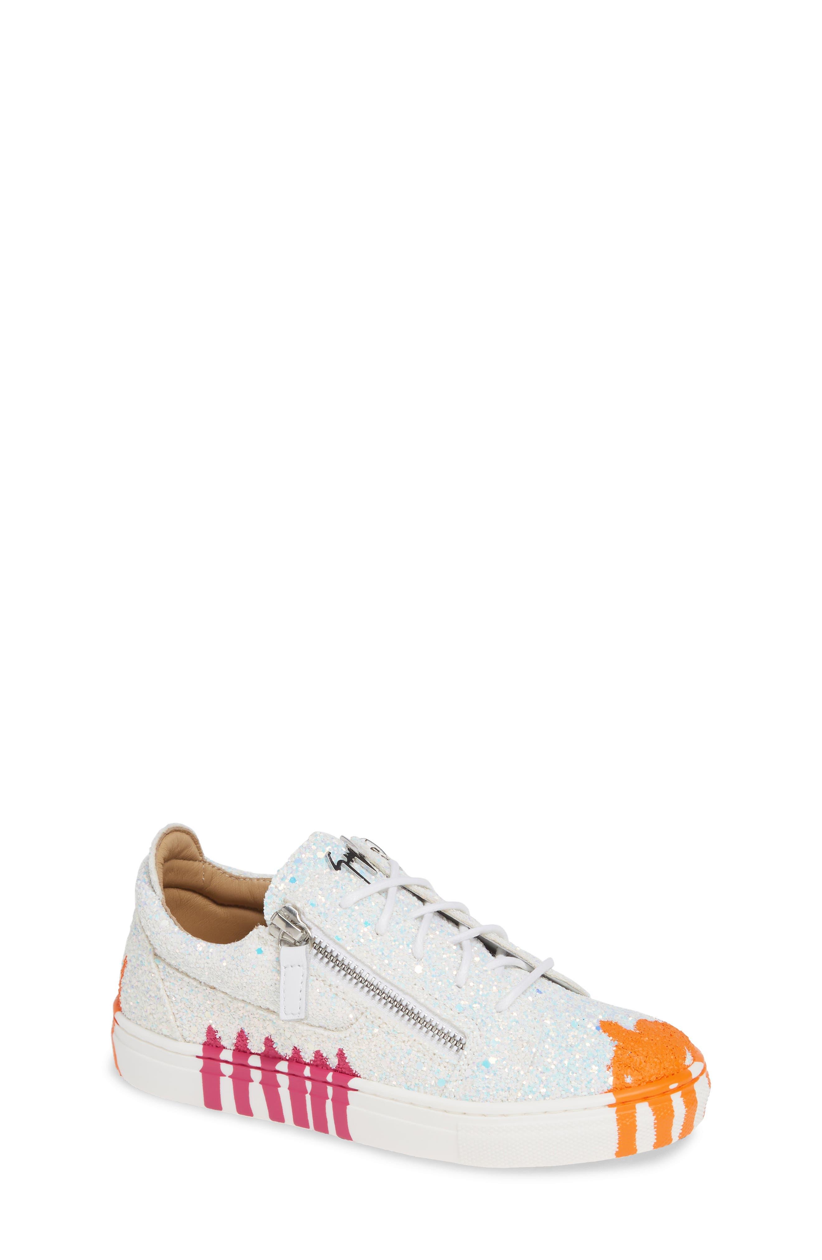GIUSEPPE ZANOTTI,                             London Glitter Sneaker,                             Main thumbnail 1, color,                             MILK
