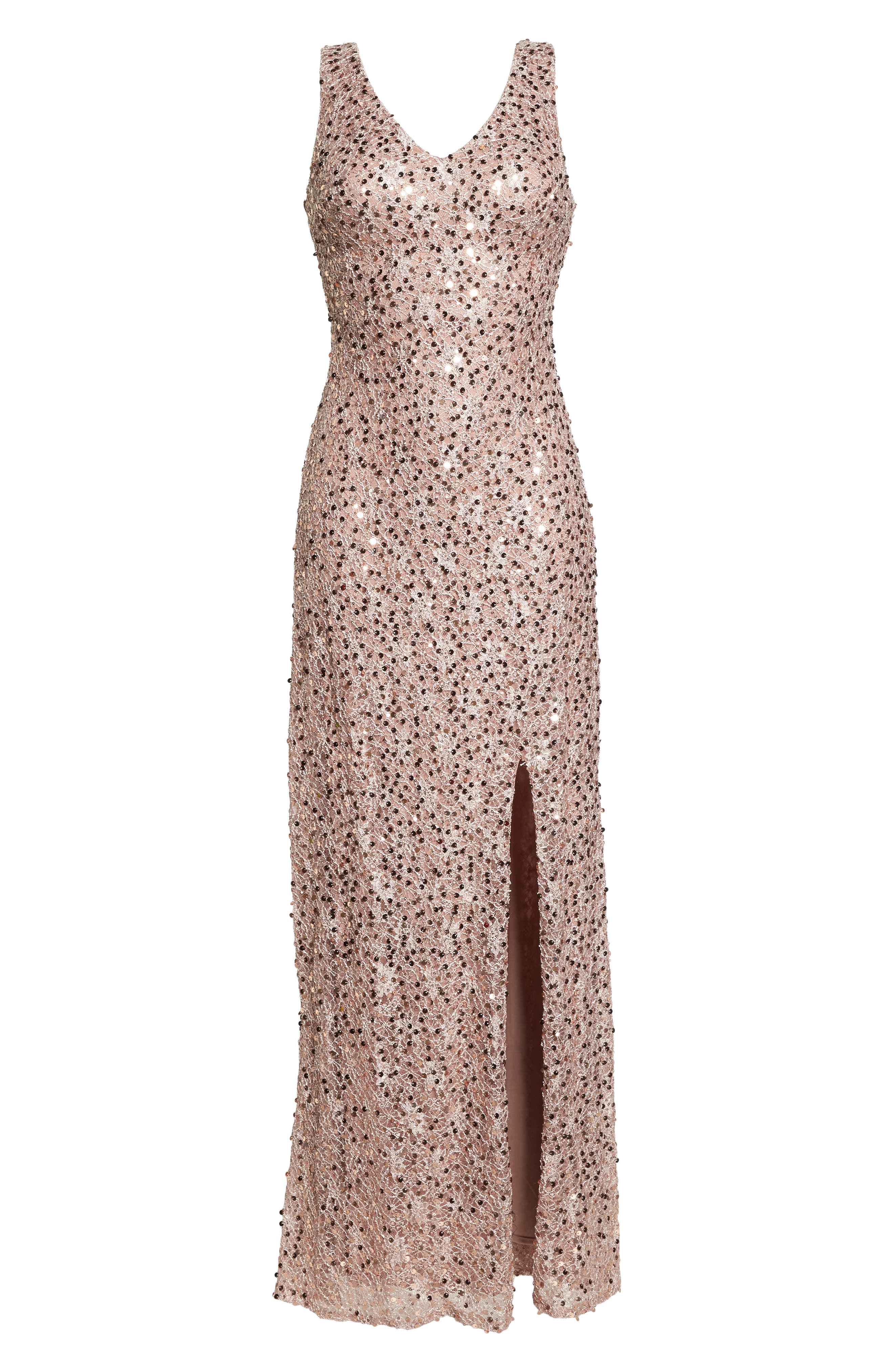 MORGAN & CO., Sequin & Lace Gown, Alternate thumbnail 7, color, ROSE GOLD