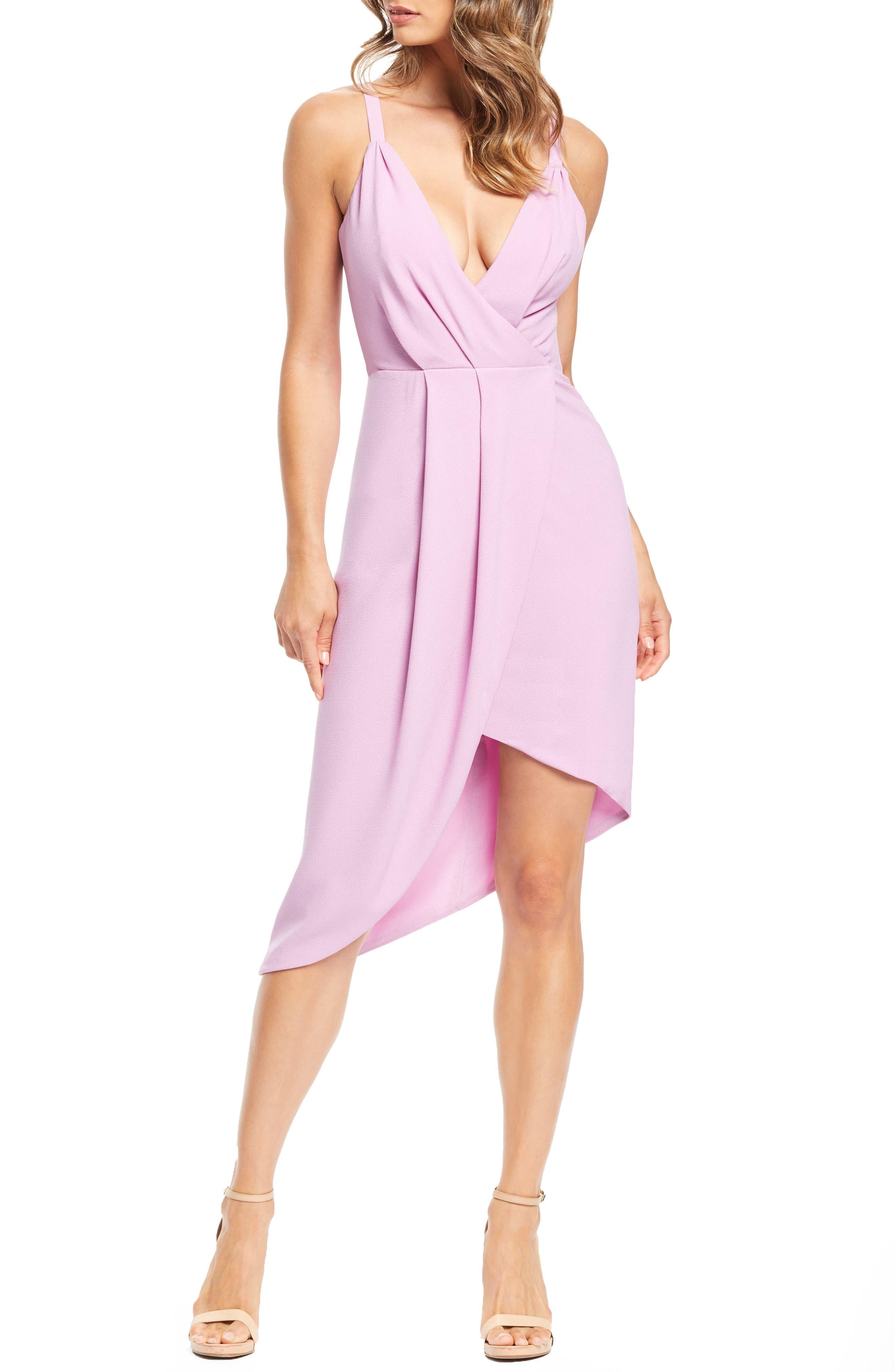 Dress The Population Owen Plunge Neck Faux Wrap Dress, Purple