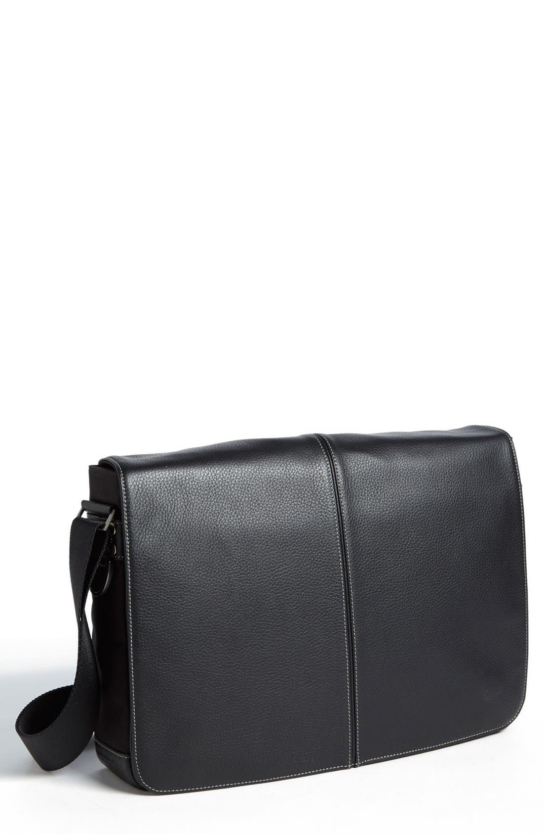BOCONI, Tyler Slim Leather Laptop Briefcase, Main thumbnail 1, color, BLACK/ KHAKI