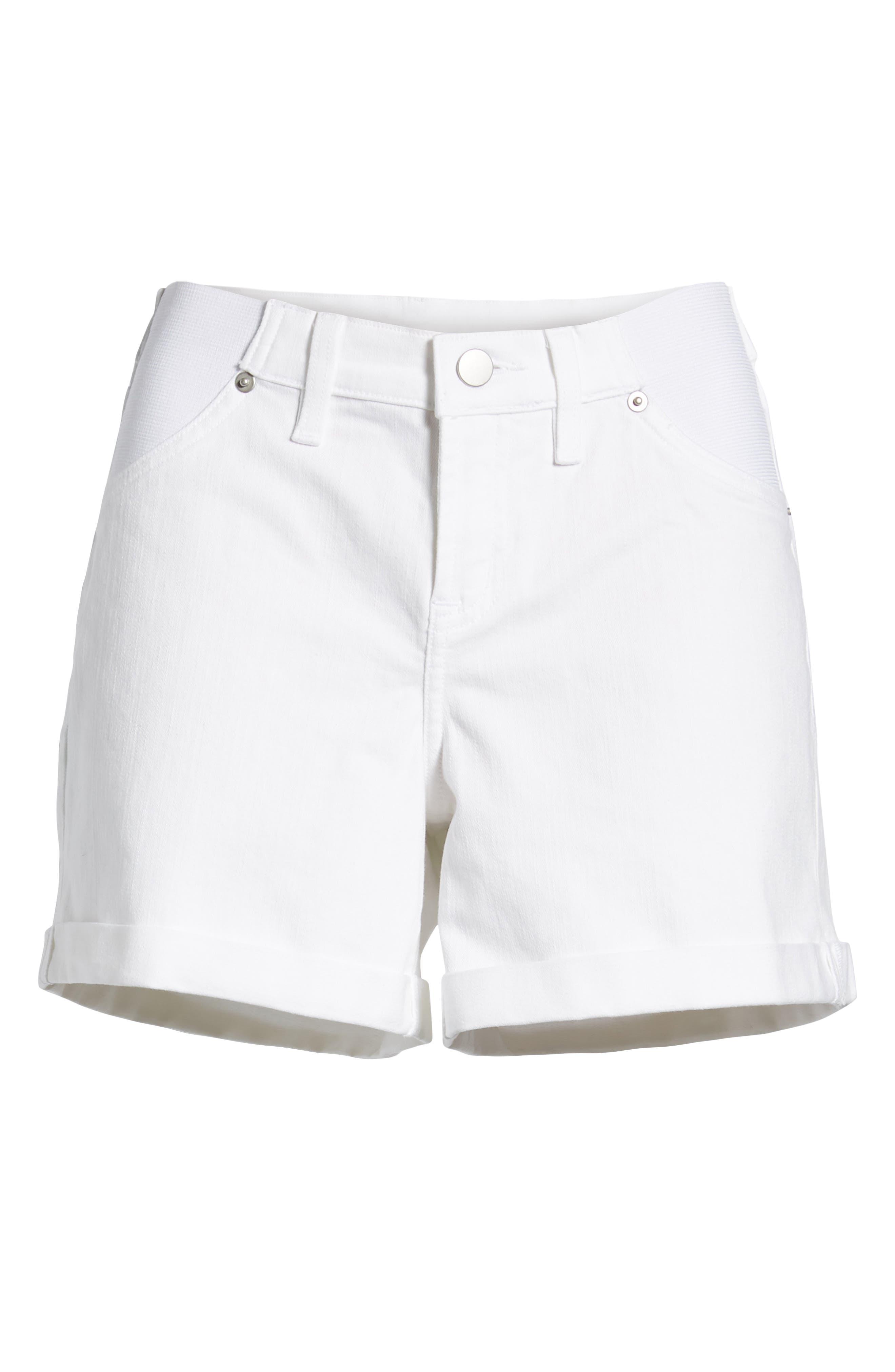 INGRID & ISABEL<SUP>®</SUP>, Mia Maternity Boyfriend Shorts, Alternate thumbnail 6, color, WHITE