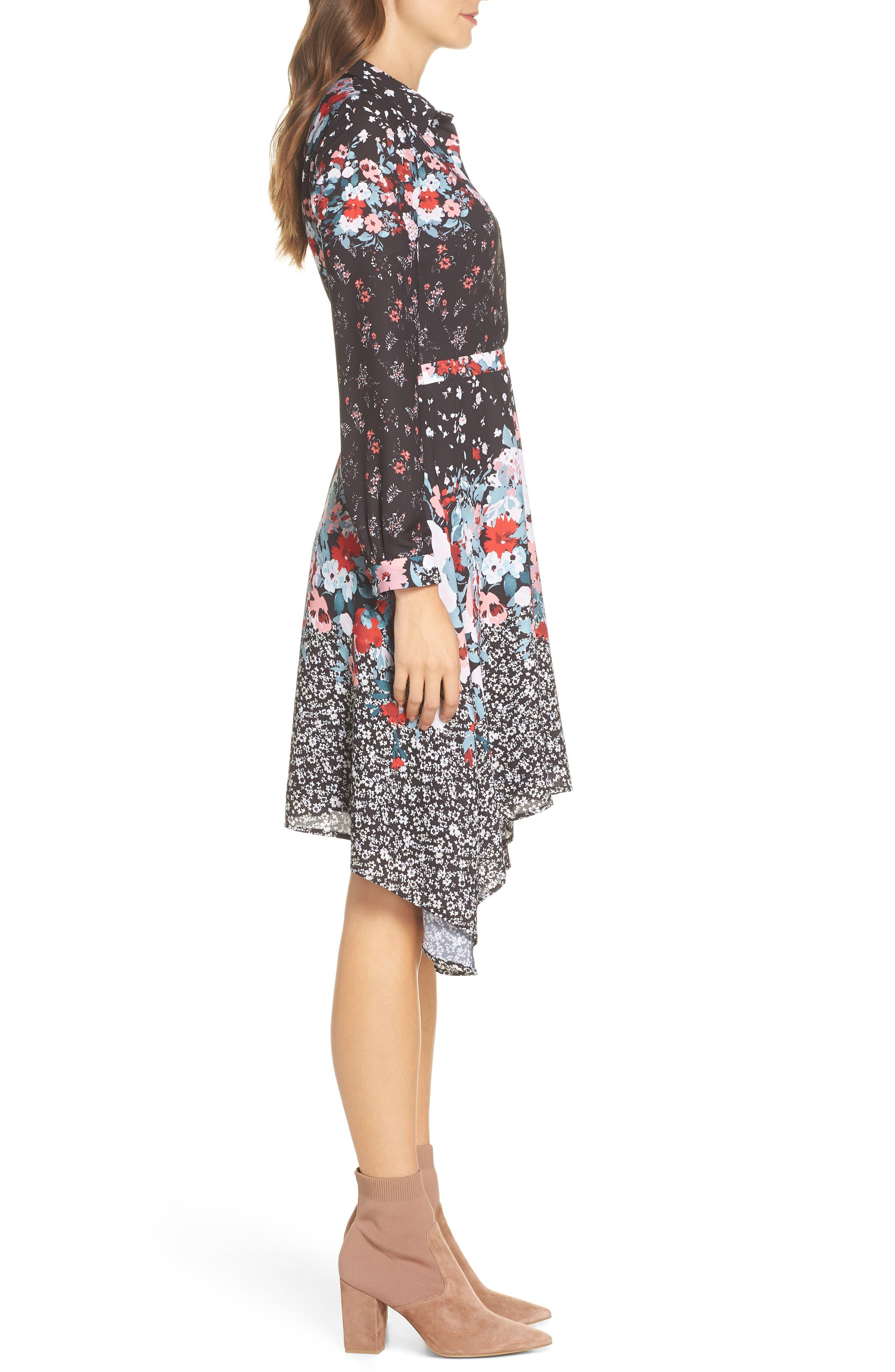 JULIA JORDAN, Floral Print Shirtdress, Alternate thumbnail 4, color, 017