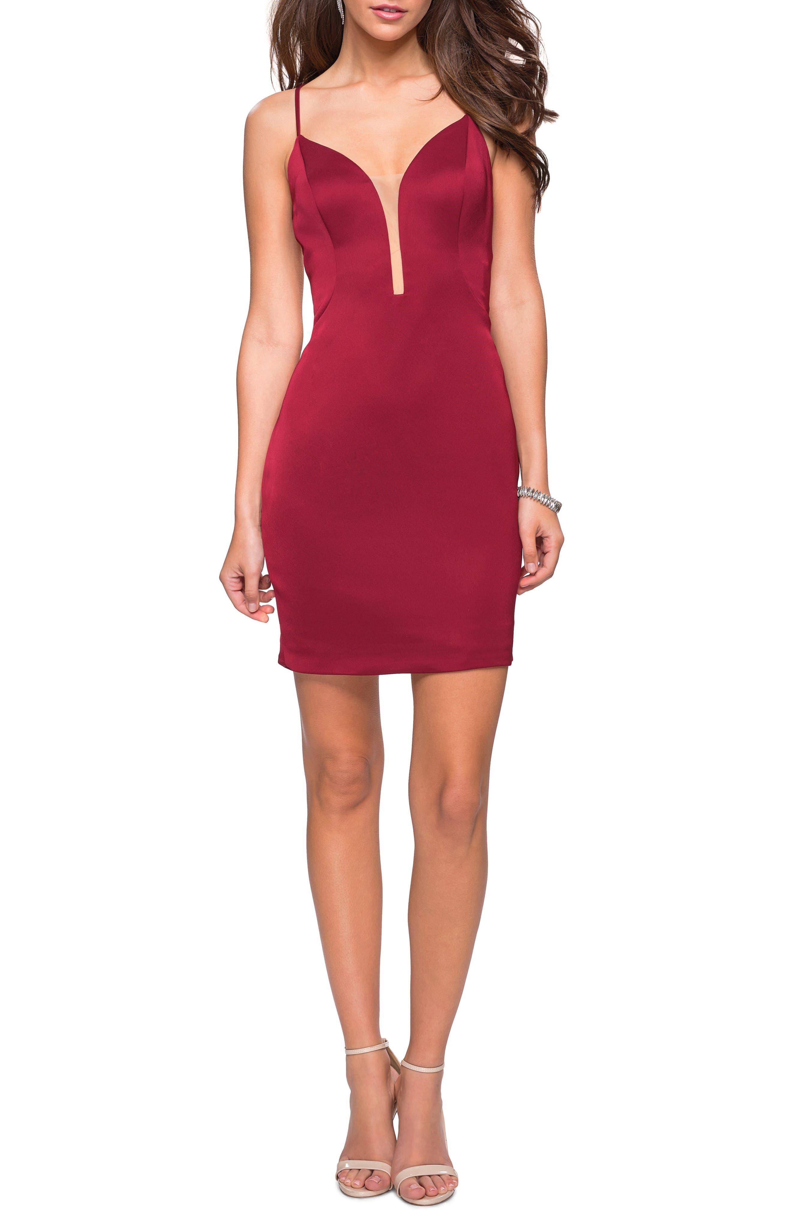 LA FEMME Strappy Back Satin Party Dress, Main, color, BURGUNDY