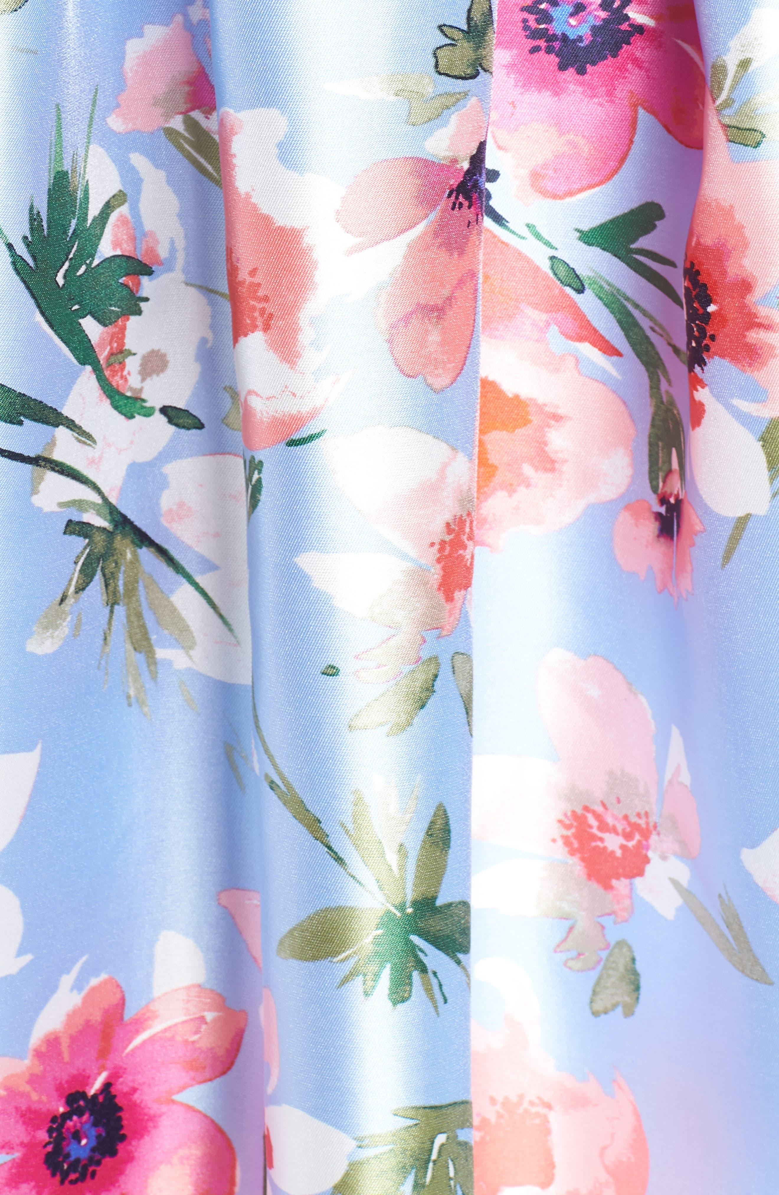 ELIZA J, Floral Print Satin Cocktail Dress, Alternate thumbnail 6, color, BLUE