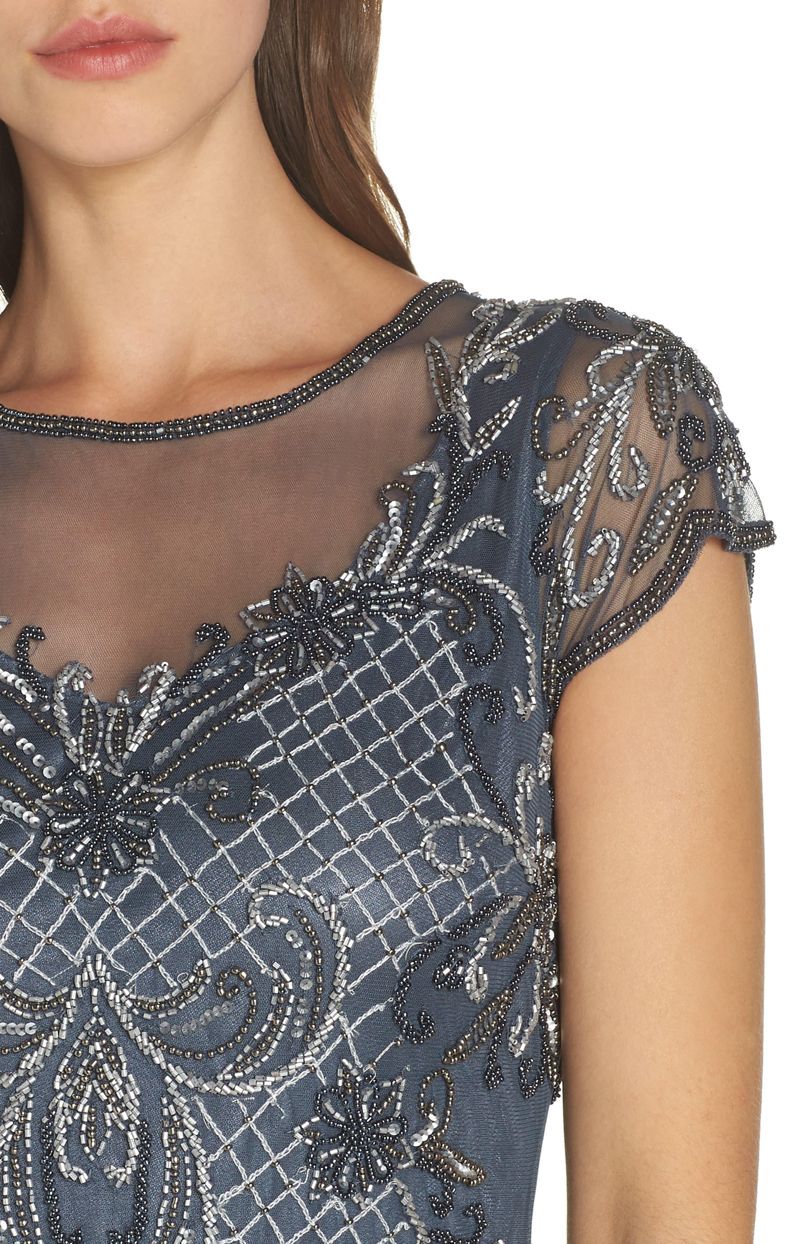 PISARRO NIGHTS, Mock Two-Piece Beaded Bodice Evening Dress, Alternate thumbnail 5, color, SLATE