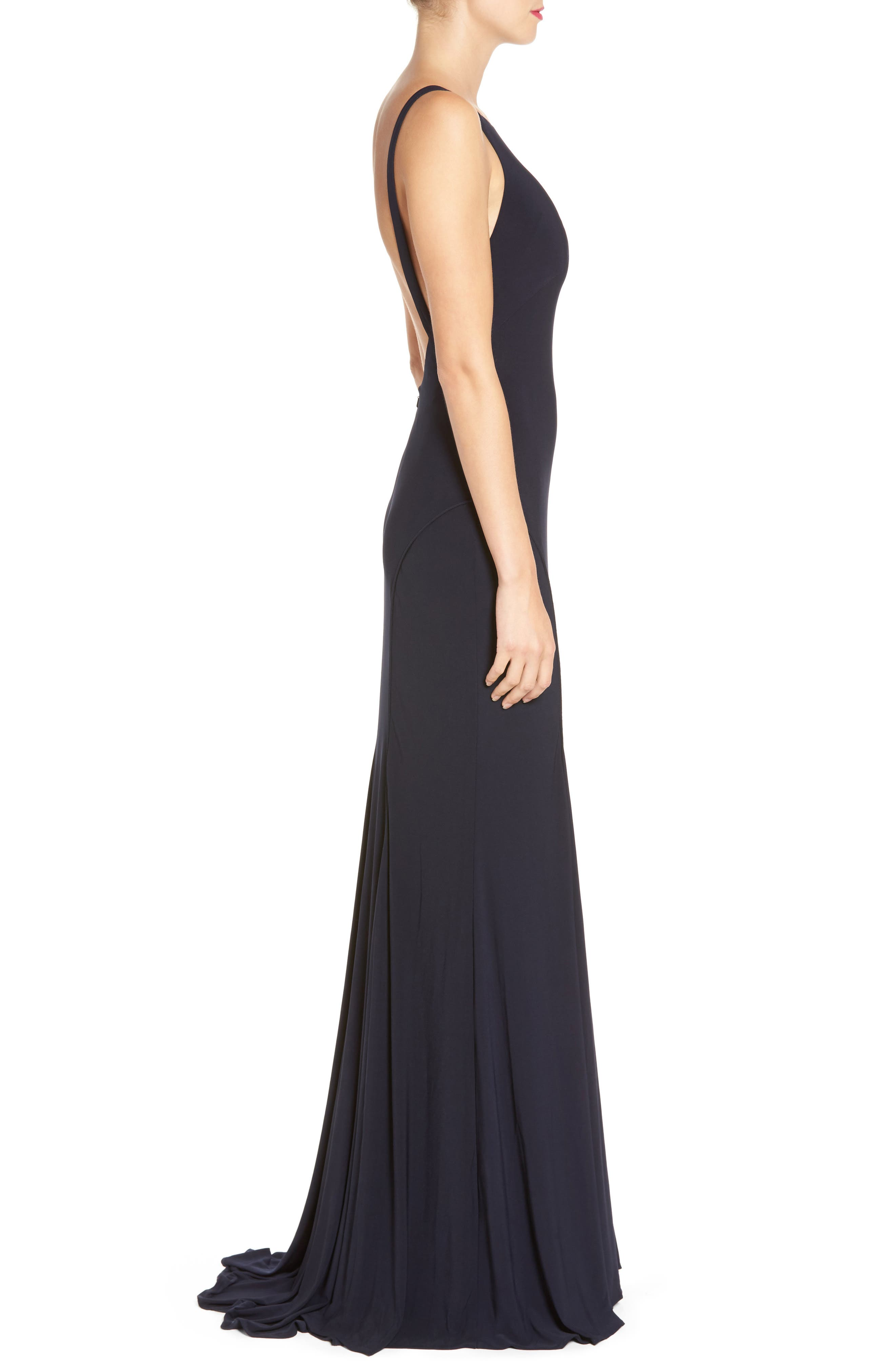 IEENA FOR MAC DUGGAL, Jersey Gown, Alternate thumbnail 3, color, MIDNIGHT
