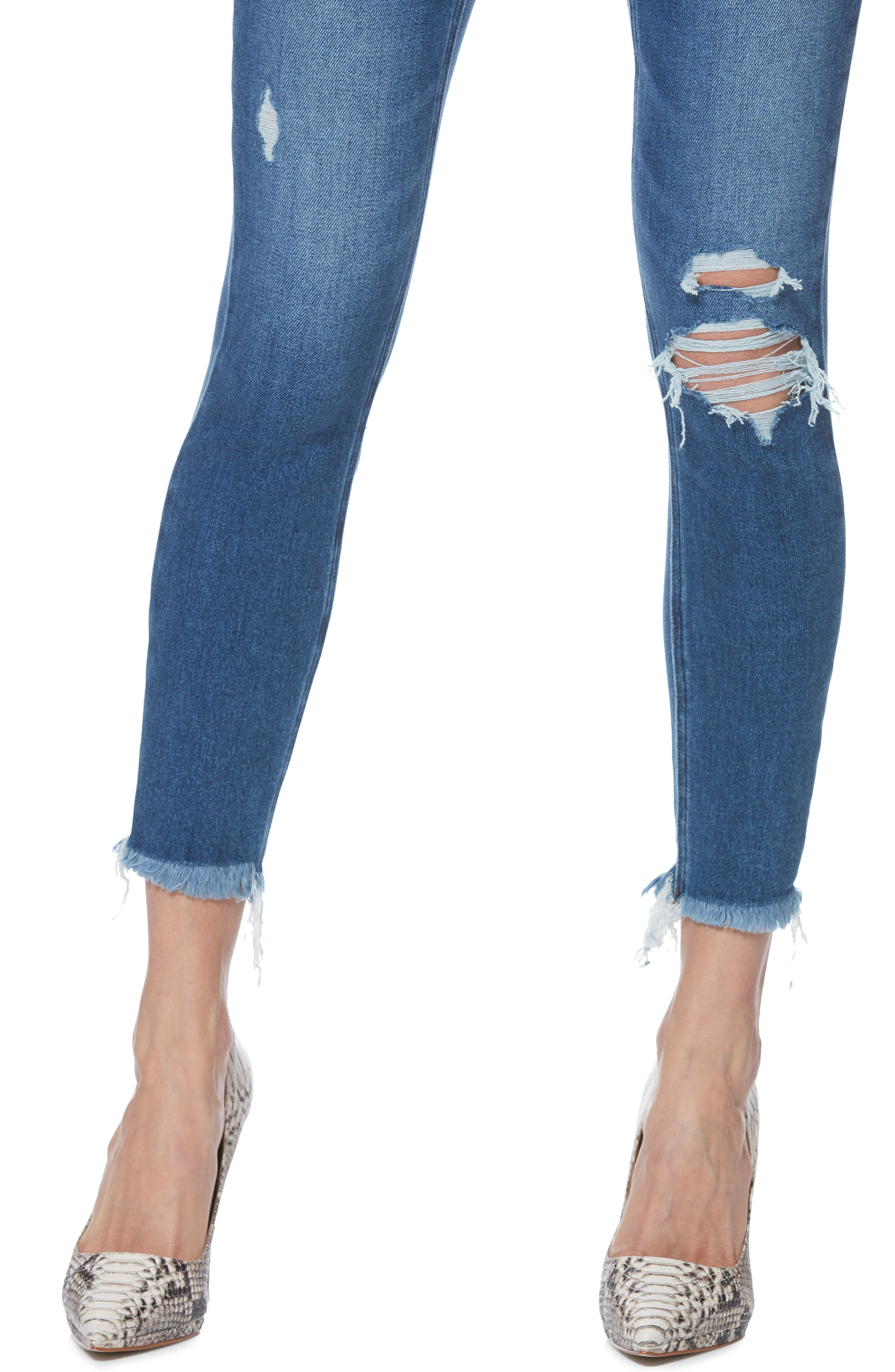 PAIGE, Margot High Waist Crop Skinny Jeans, Alternate thumbnail 4, color, ALESSIO DESTRUCTED