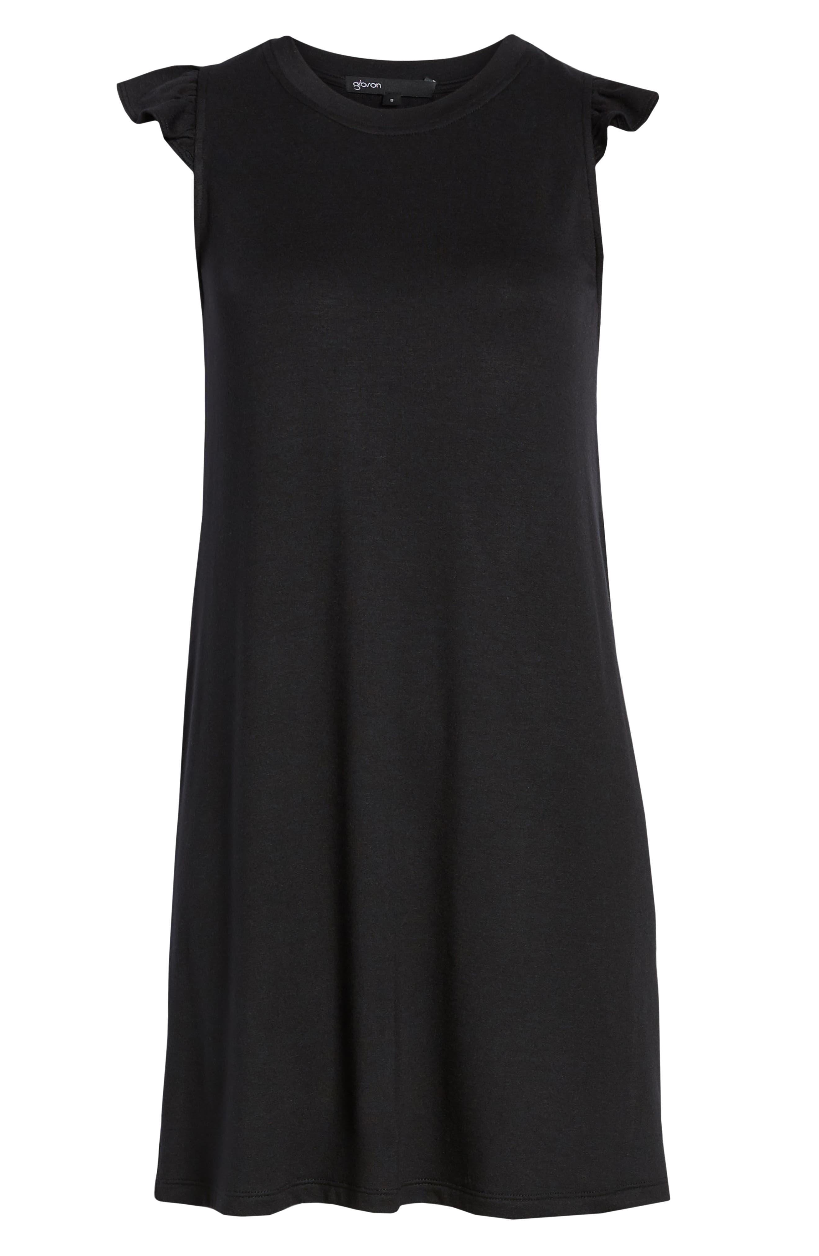 GIBSON, x Hi Sugarplum! Laguna Soft Jersey Ruffle Back T-Shirt Dress, Alternate thumbnail 7, color, BLACK