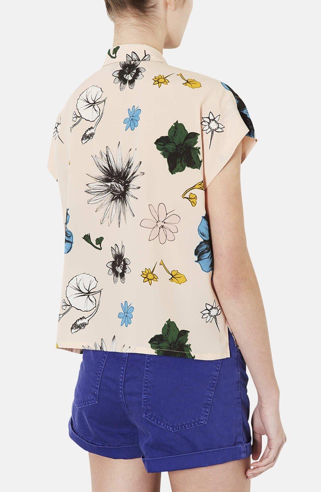 TOPSHOP, 'Sophie - Tokyo Bloom' Print Shirt, Alternate thumbnail 4, color, 250