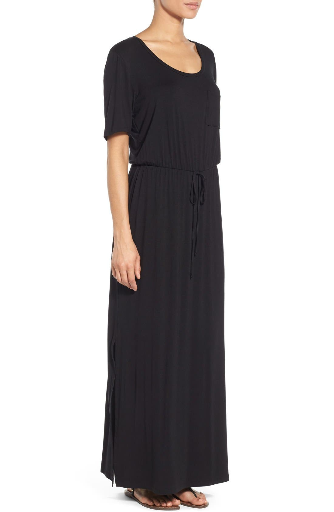 BOBEAU, Drawstring Waist Jersey Maxi Dress, Alternate thumbnail 2, color, 005
