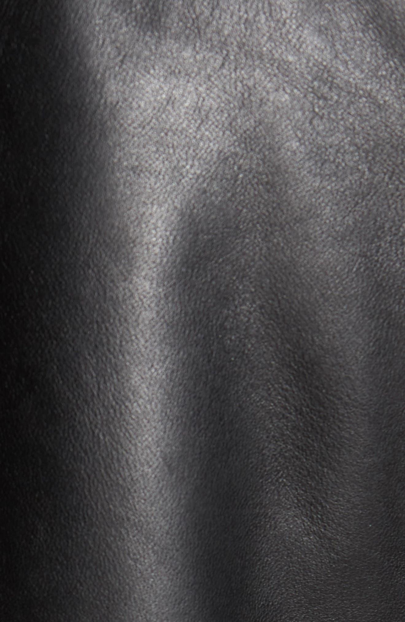 COLE HAAN, Lambskin Leather Moto Jacket, Alternate thumbnail 7, color, 001