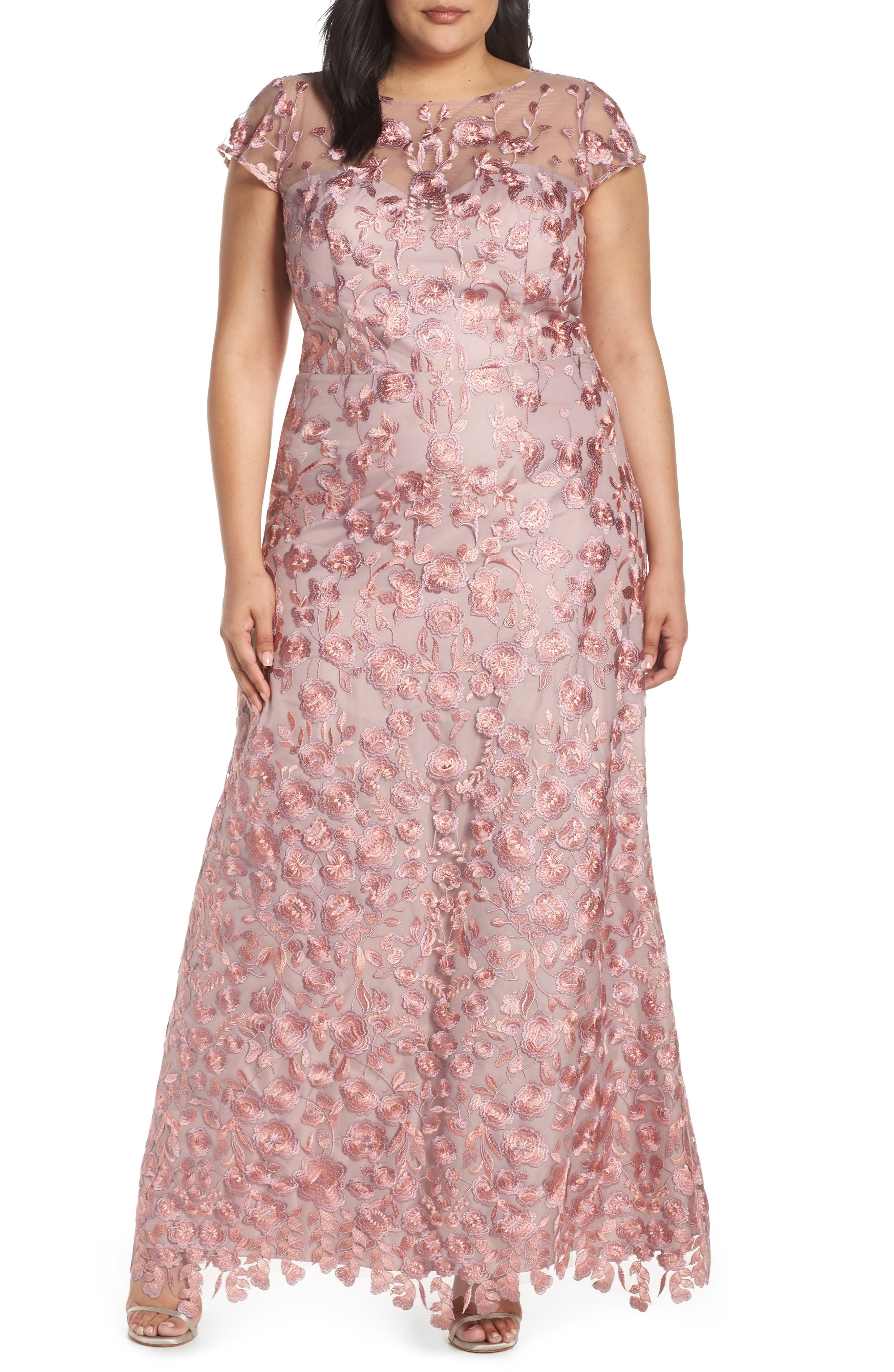 Plus Size Js Collections Floral Embroidered Evening Dress, Pink