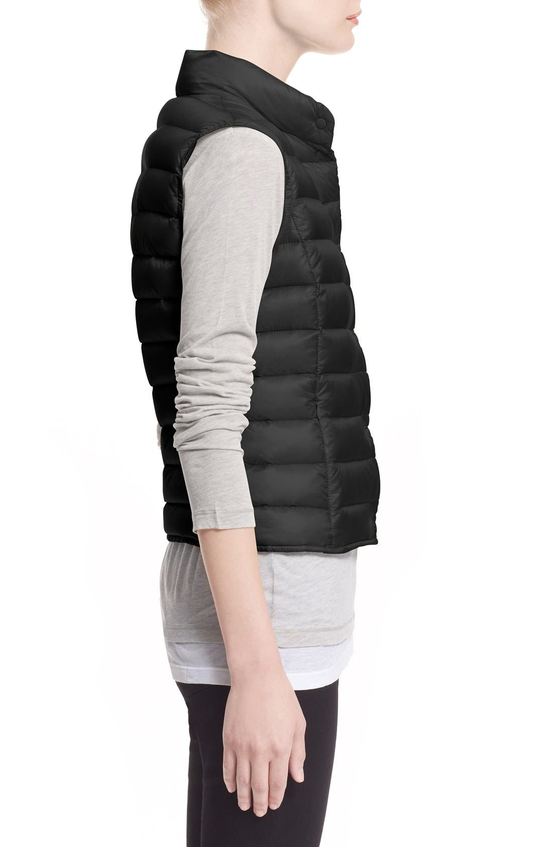MONCLER, 'Liane' Water Resistant Short Down Vest, Alternate thumbnail 4, color, BLACK
