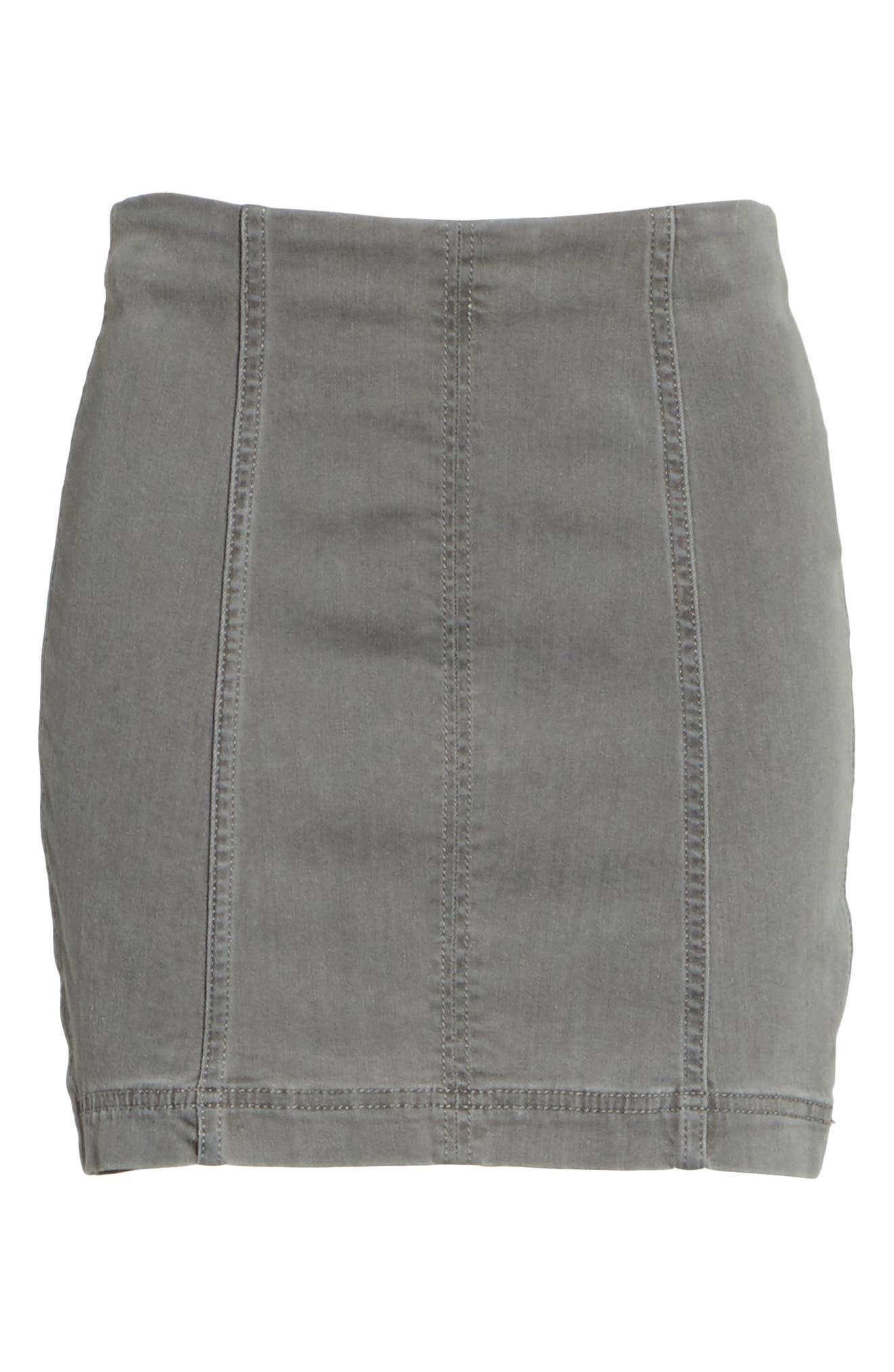 FREE PEOPLE, We the Free by Free People Modern Femme Denim Miniskirt, Alternate thumbnail 6, color, LIGHT GREY