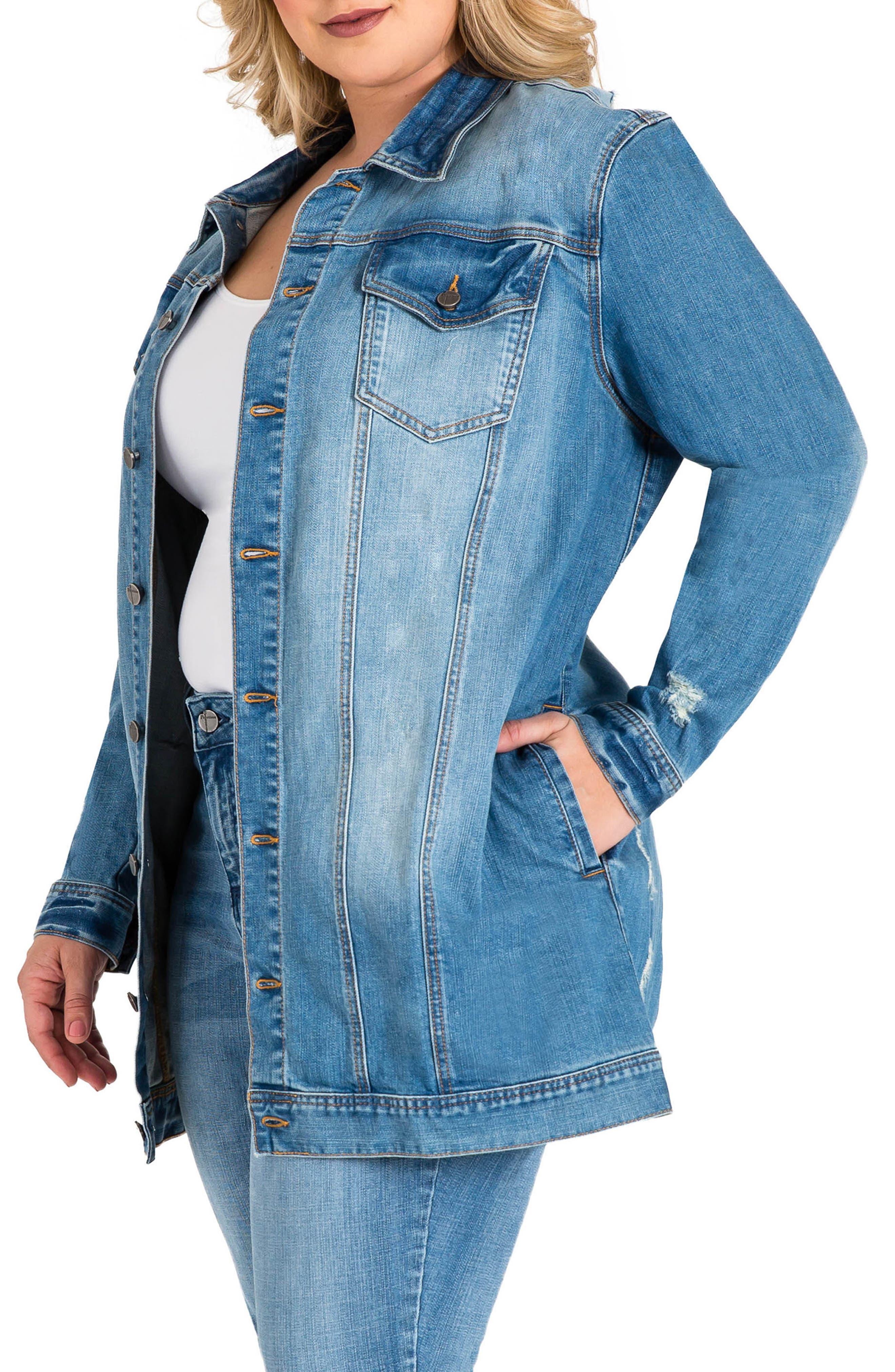 STANDARDS & PRACTICES, Margot Longline Denim Jacket, Alternate thumbnail 3, color, LIGHT BLUE