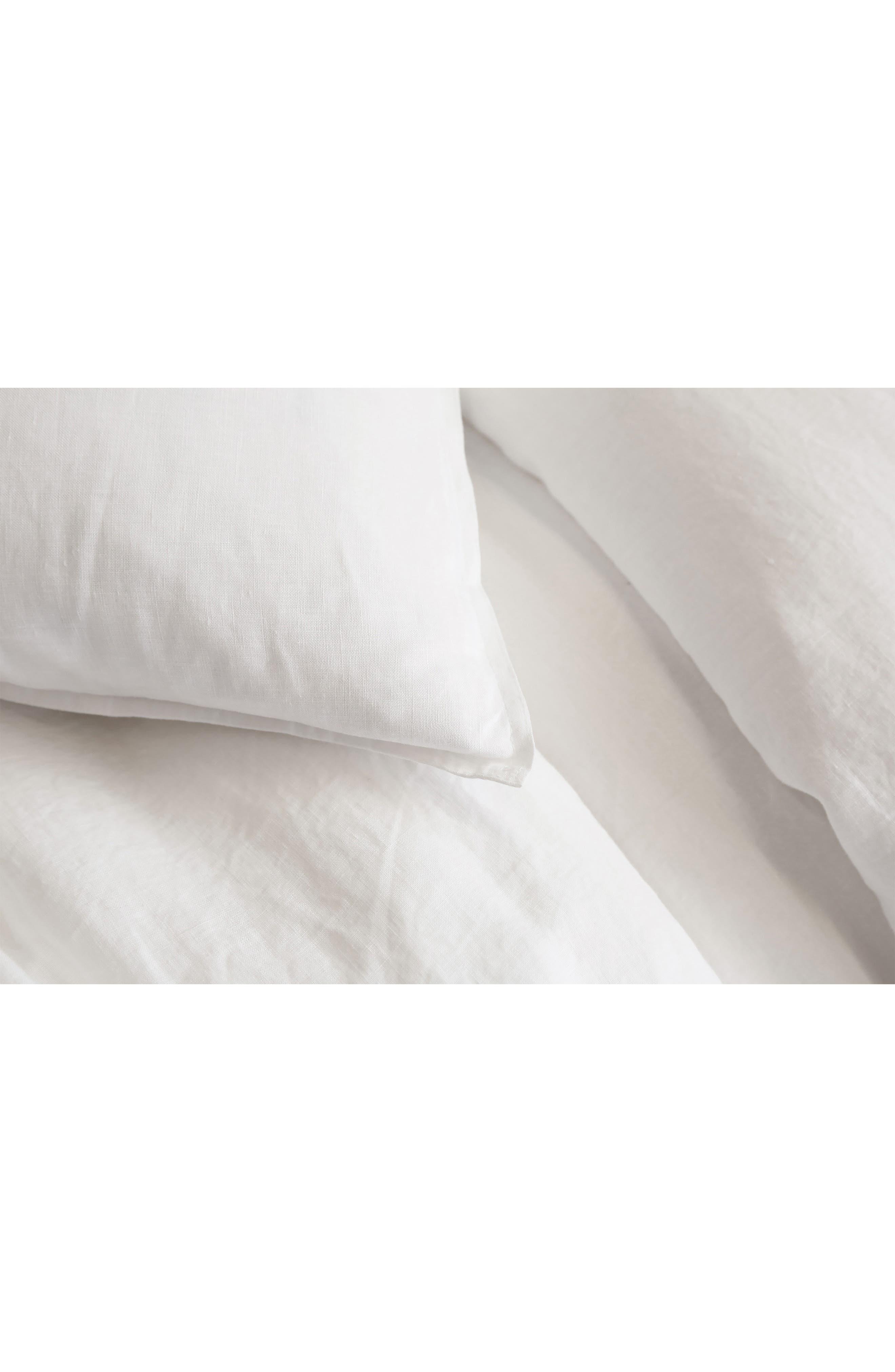 POM POM AT HOME, Parker Linen Duvet Cover & Sham Set, Alternate thumbnail 3, color, WHITE