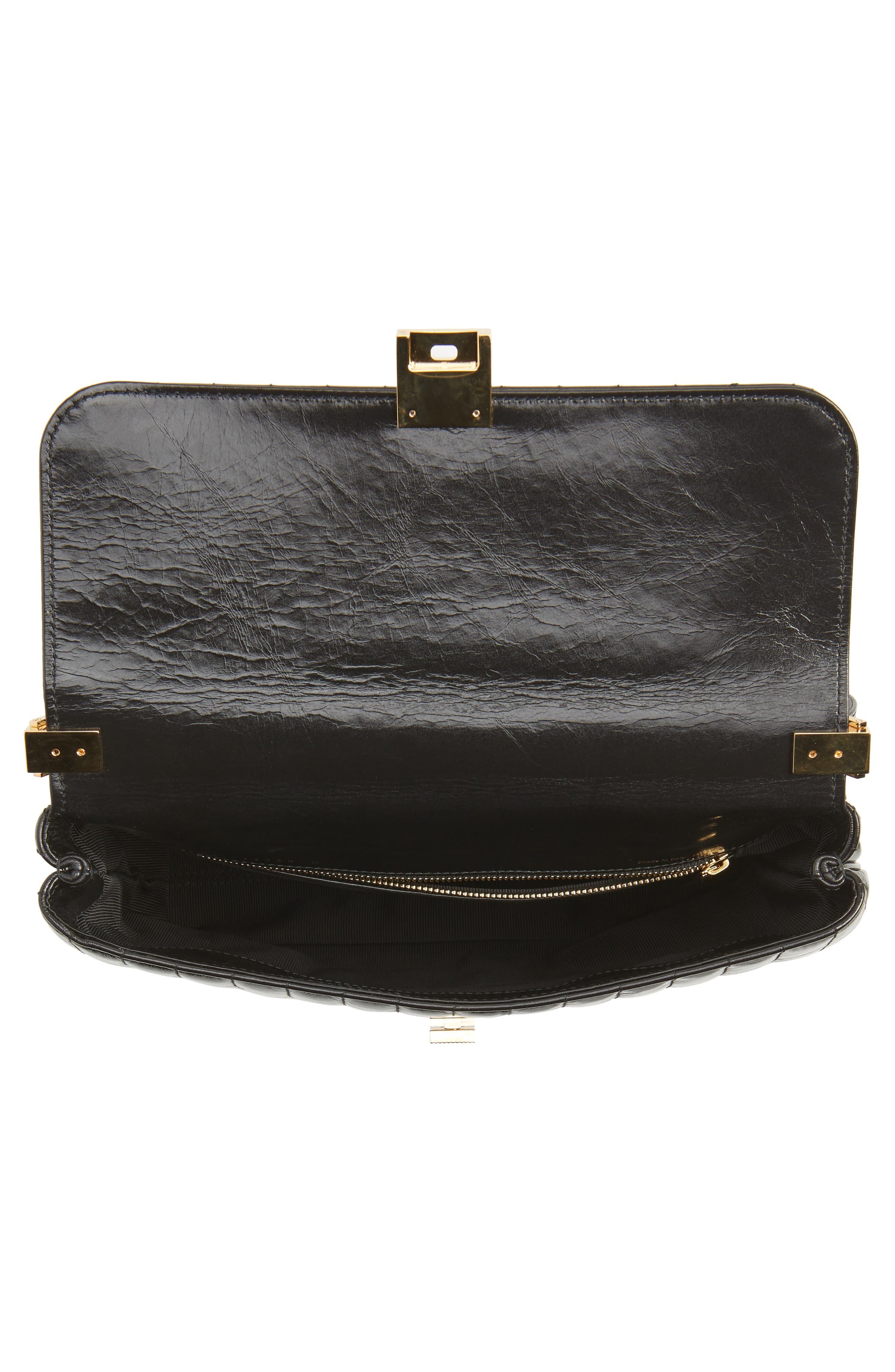 VICTORIA BECKHAM, Quinton Quilted Leather Shoulder Bag, Alternate thumbnail 4, color, 001