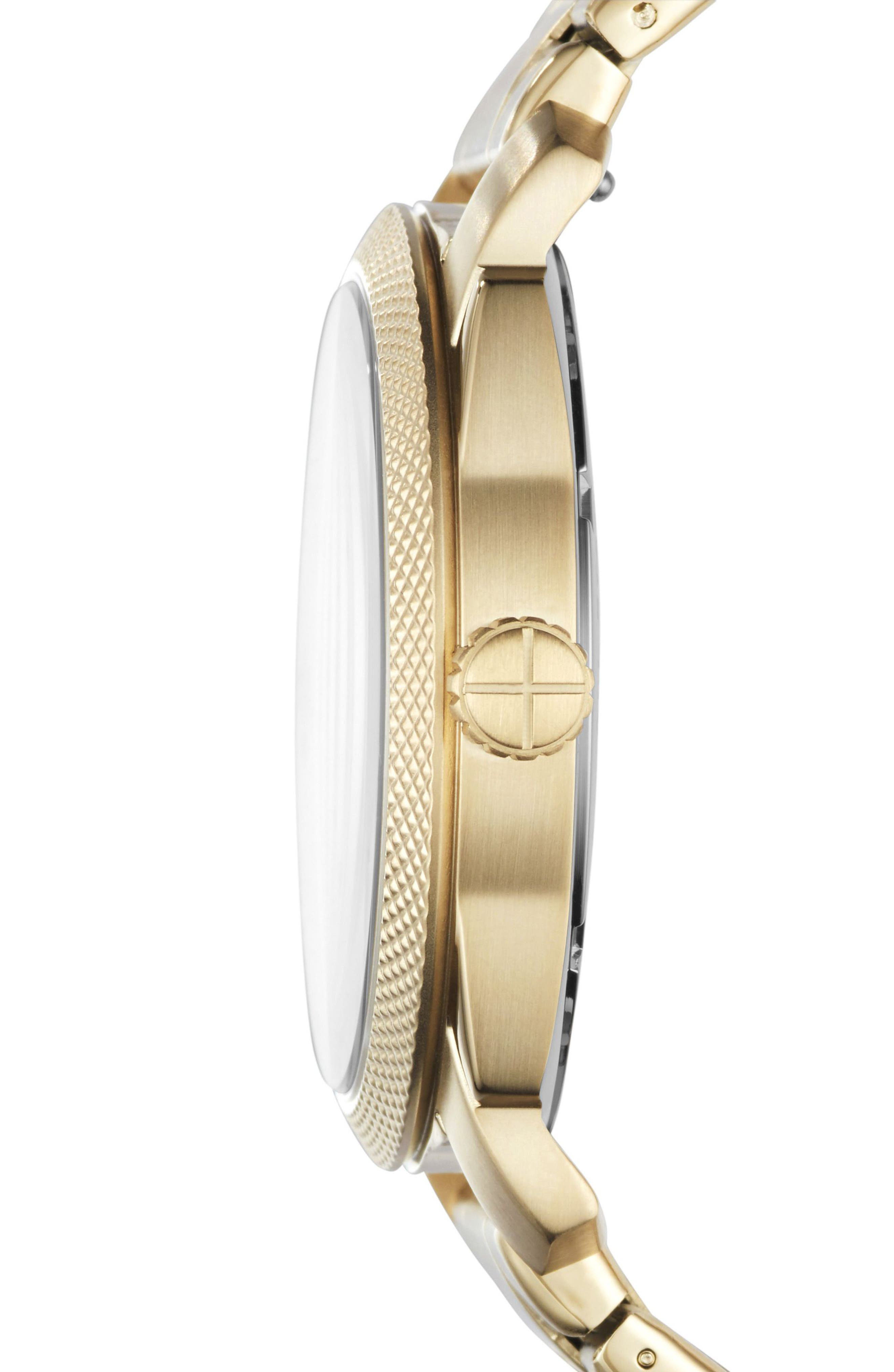 FOSSIL, Machine Bracelet Watch, 42mm, Alternate thumbnail 2, color, GOLD