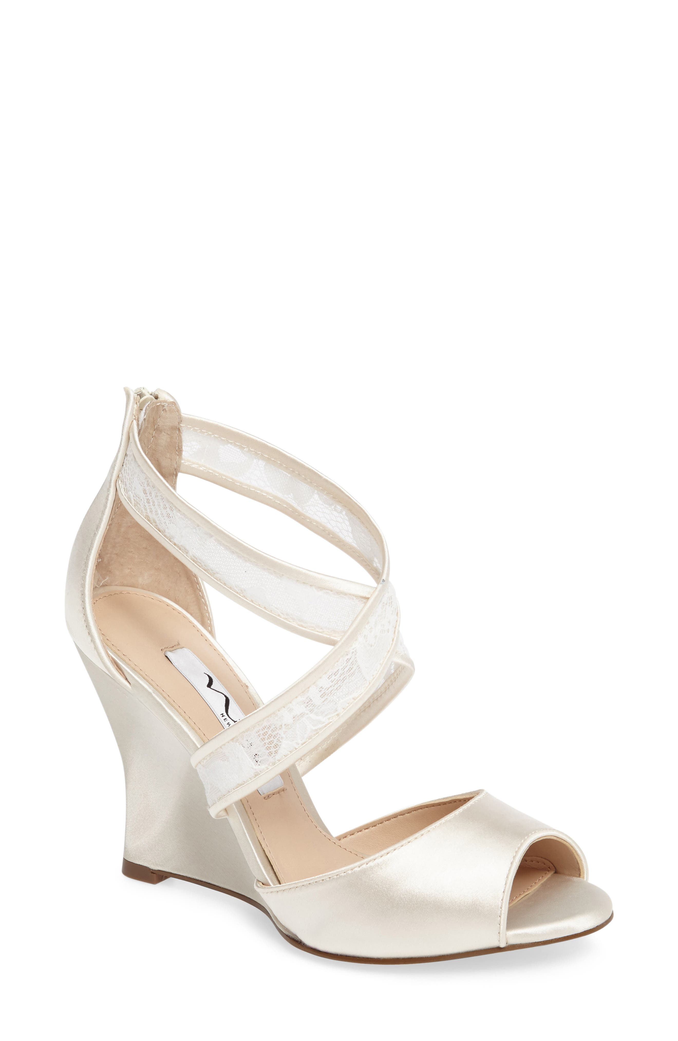 NINA, Elyana Strappy Wedge Sandal, Main thumbnail 1, color, IVORY SATIN