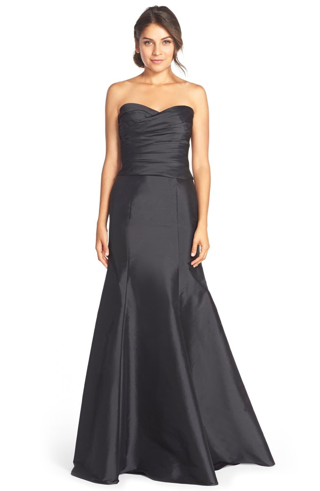 MONIQUE LHUILLIER BRIDESMAIDS, Floor Length Taffeta Mermaid Skirt, Alternate thumbnail 2, color, 001