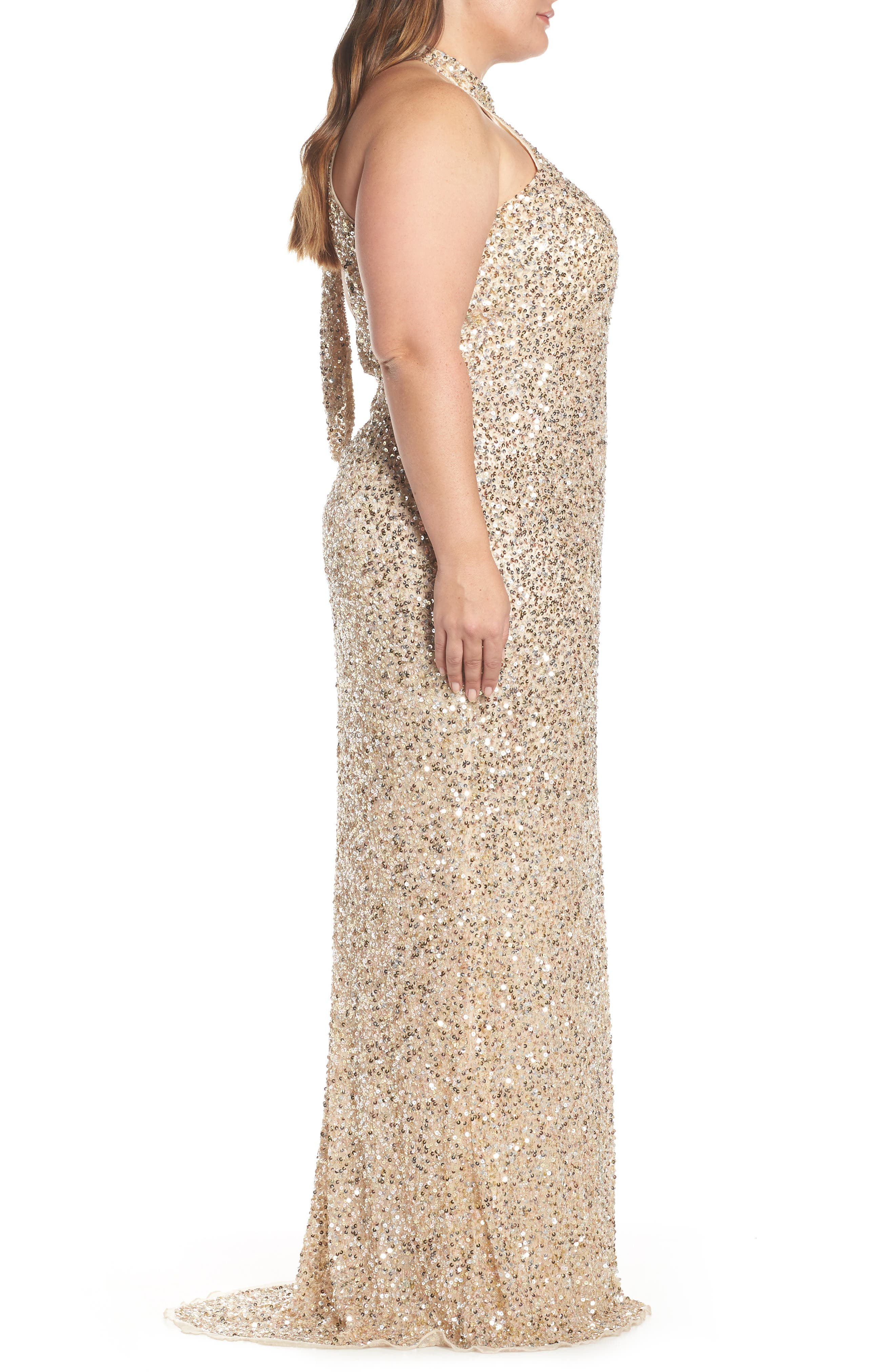 MAC DUGGAL, Sequin Mesh Evening Dress, Alternate thumbnail 4, color, NUDE GOLD