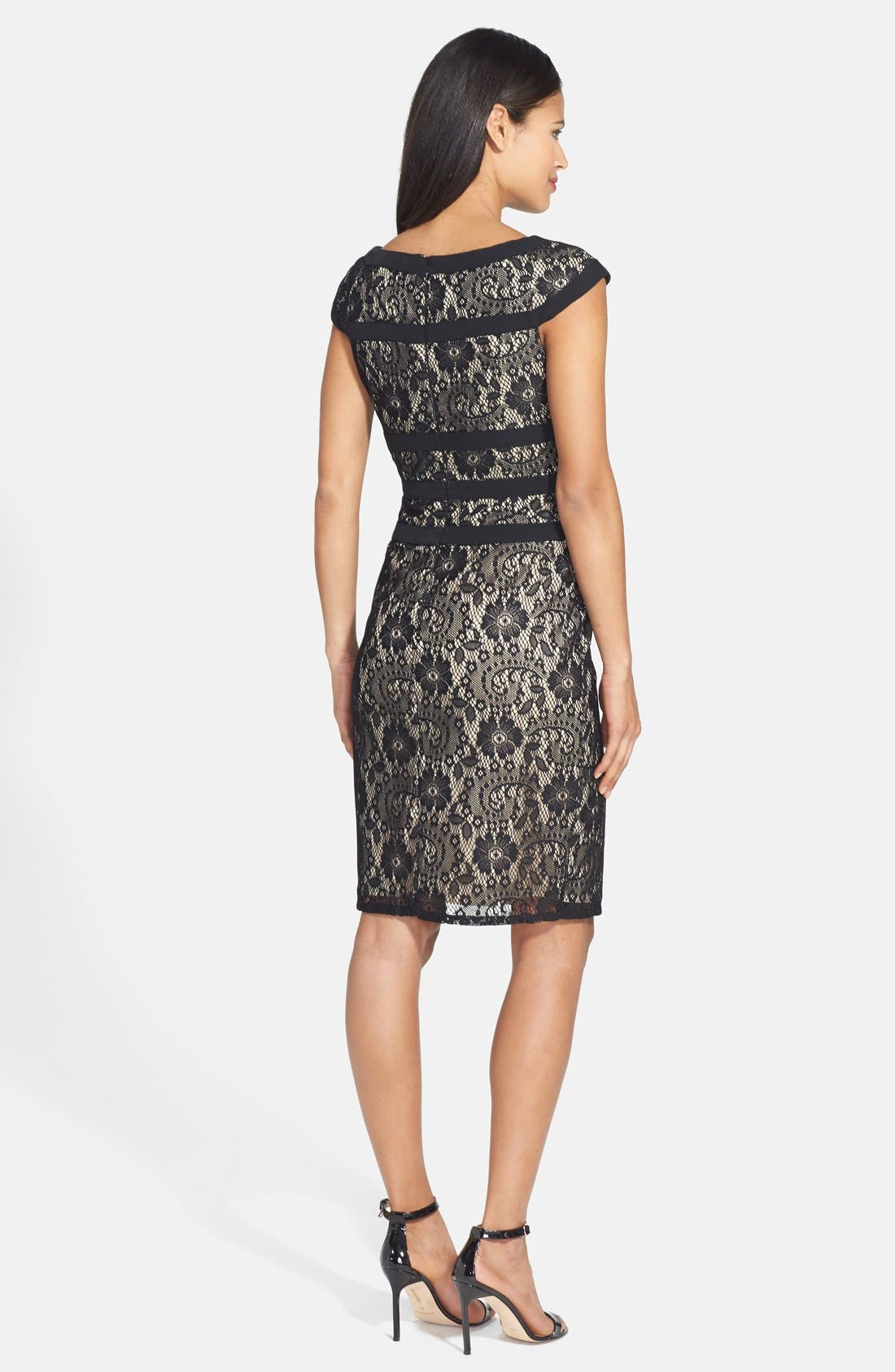 ADRIANNA PAPELL, Lace Sheath Dress, Alternate thumbnail 4, color, 001