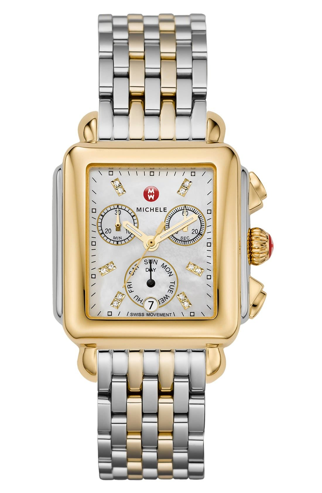 MICHELE, Deco 18mm Two-Tone Bracelet Watchband, Alternate thumbnail 7, color, SILVER/ GOLD