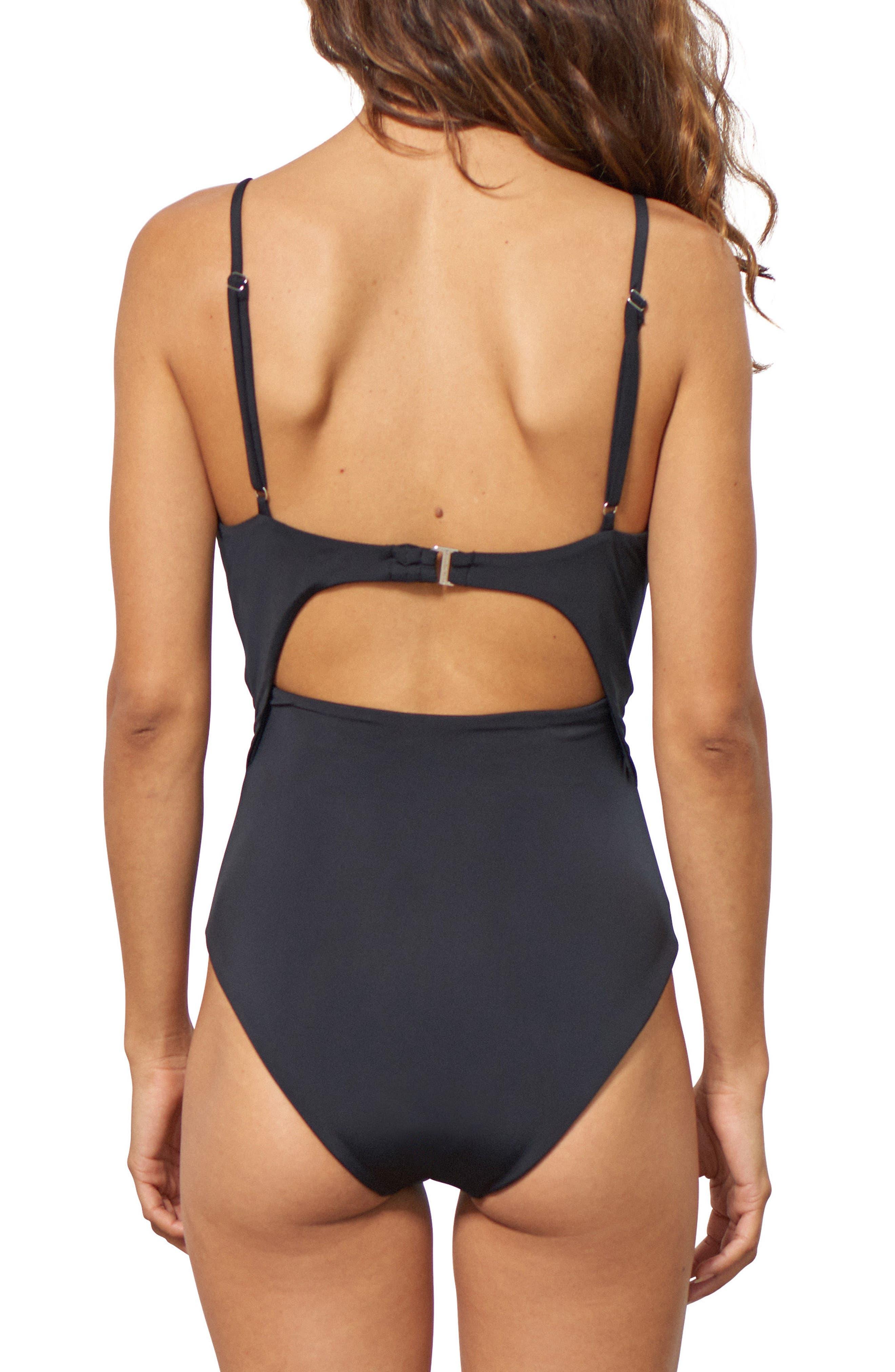 MARA HOFFMAN, Kia Cutout One-Piece Swimsuit, Alternate thumbnail 2, color, BLACK