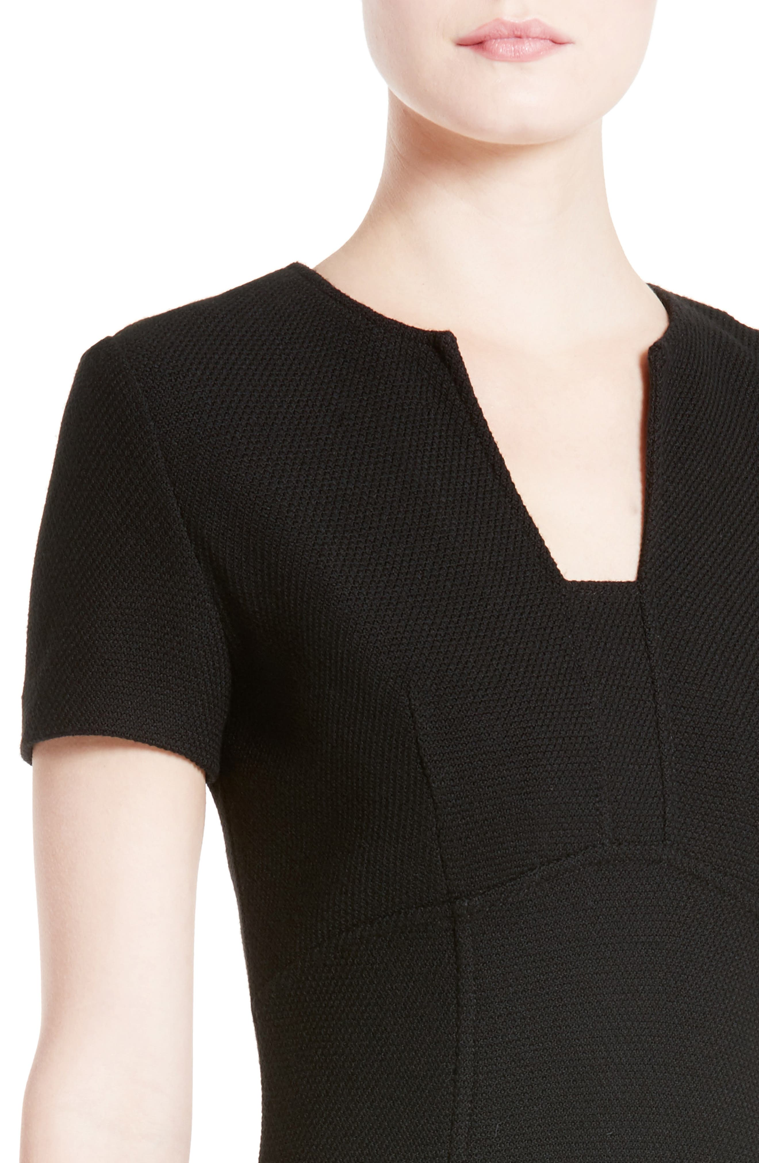 ST. JOHN COLLECTION, Micro Bouclé Knit Dress, Alternate thumbnail 4, color, CAVIAR