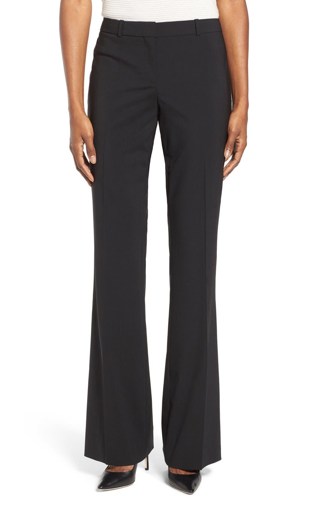 BOSS, Tulea3 Tropical Stretch Wool Trousers, Main thumbnail 1, color, BLACK