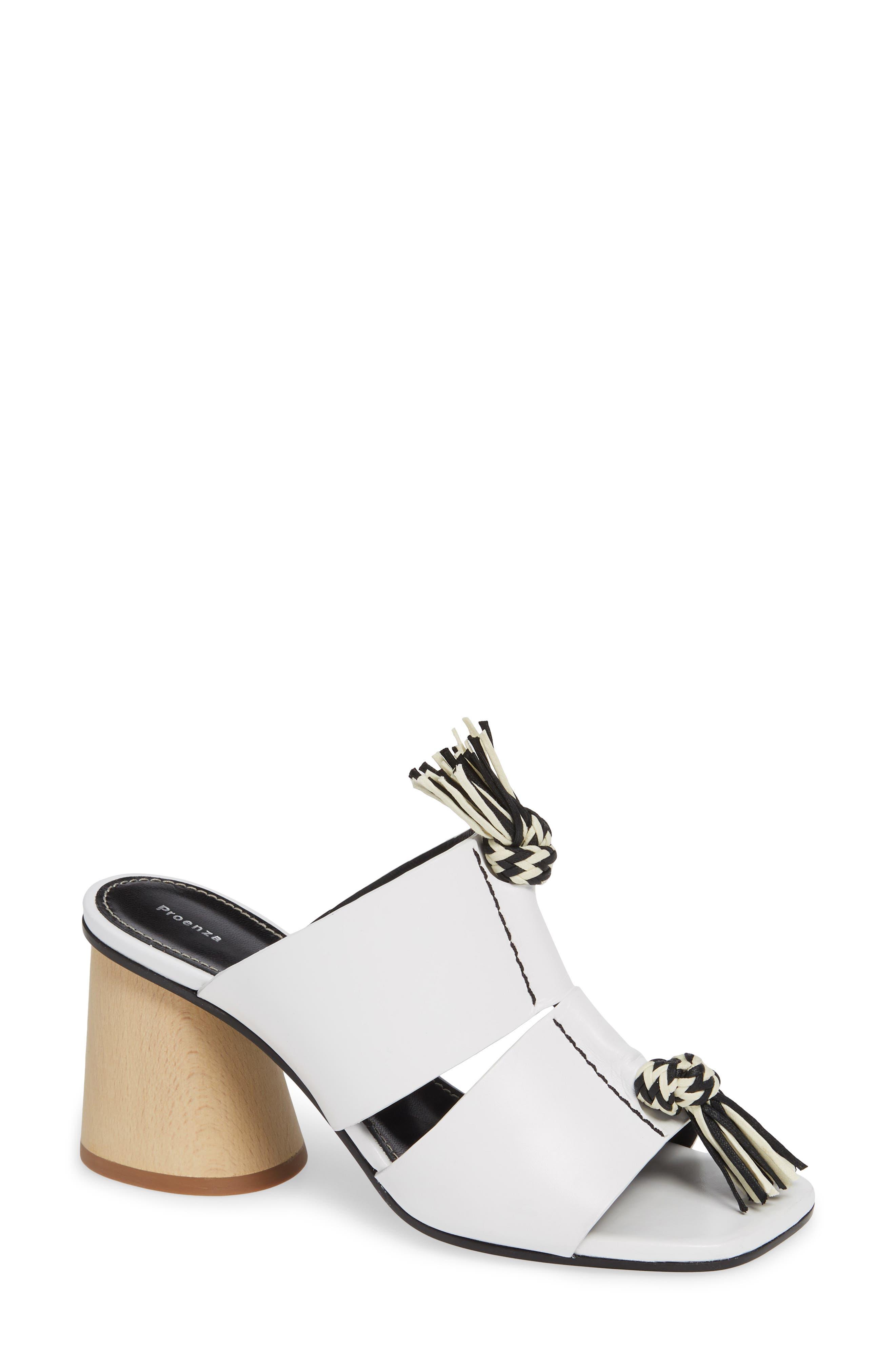PROENZA SCHOULER, Cylinder Heel Slide Sandal, Main thumbnail 1, color, WHITE