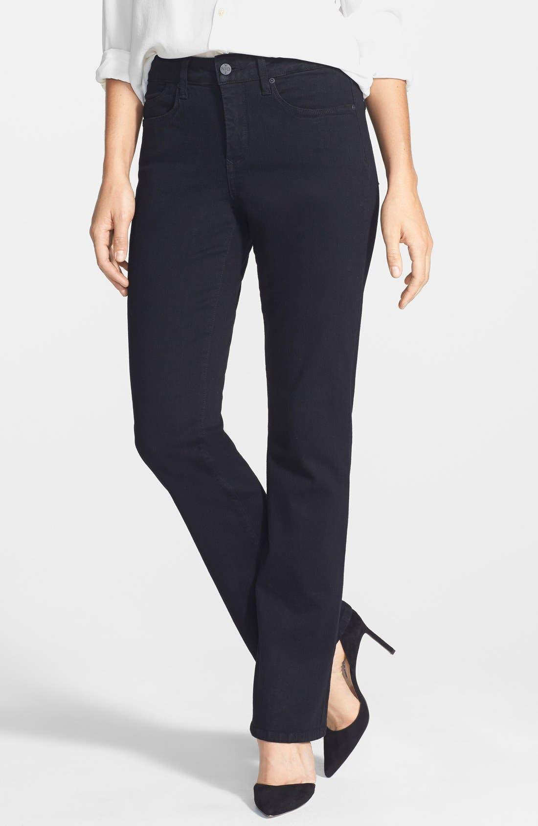 NYDJ, 'Billie' Stretch Mini Bootcut Jeans, Main thumbnail 1, color, BLACK