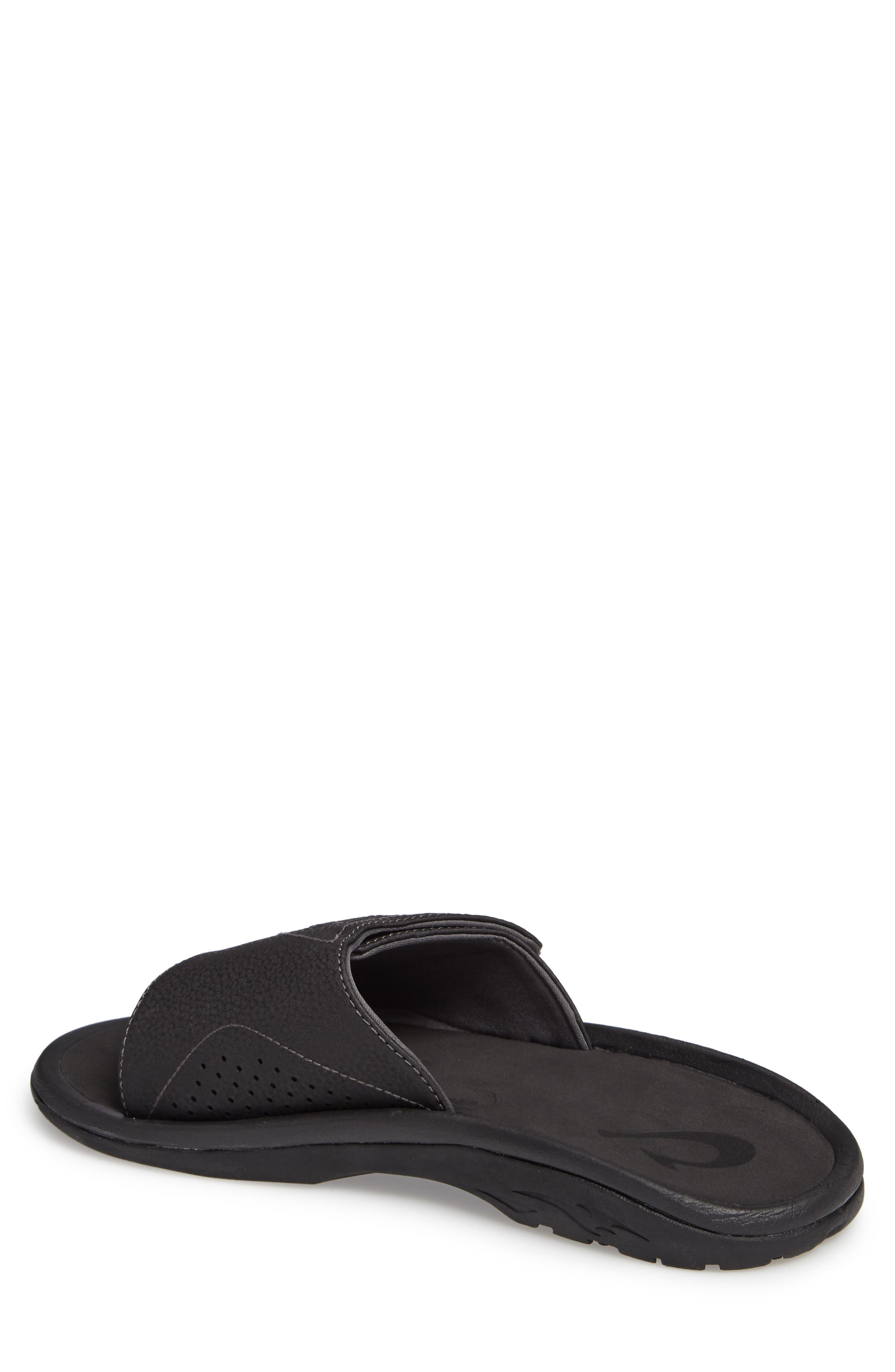 OLUKAI, Nalu Slide Sandal, Alternate thumbnail 2, color, BLACK/ BLACK