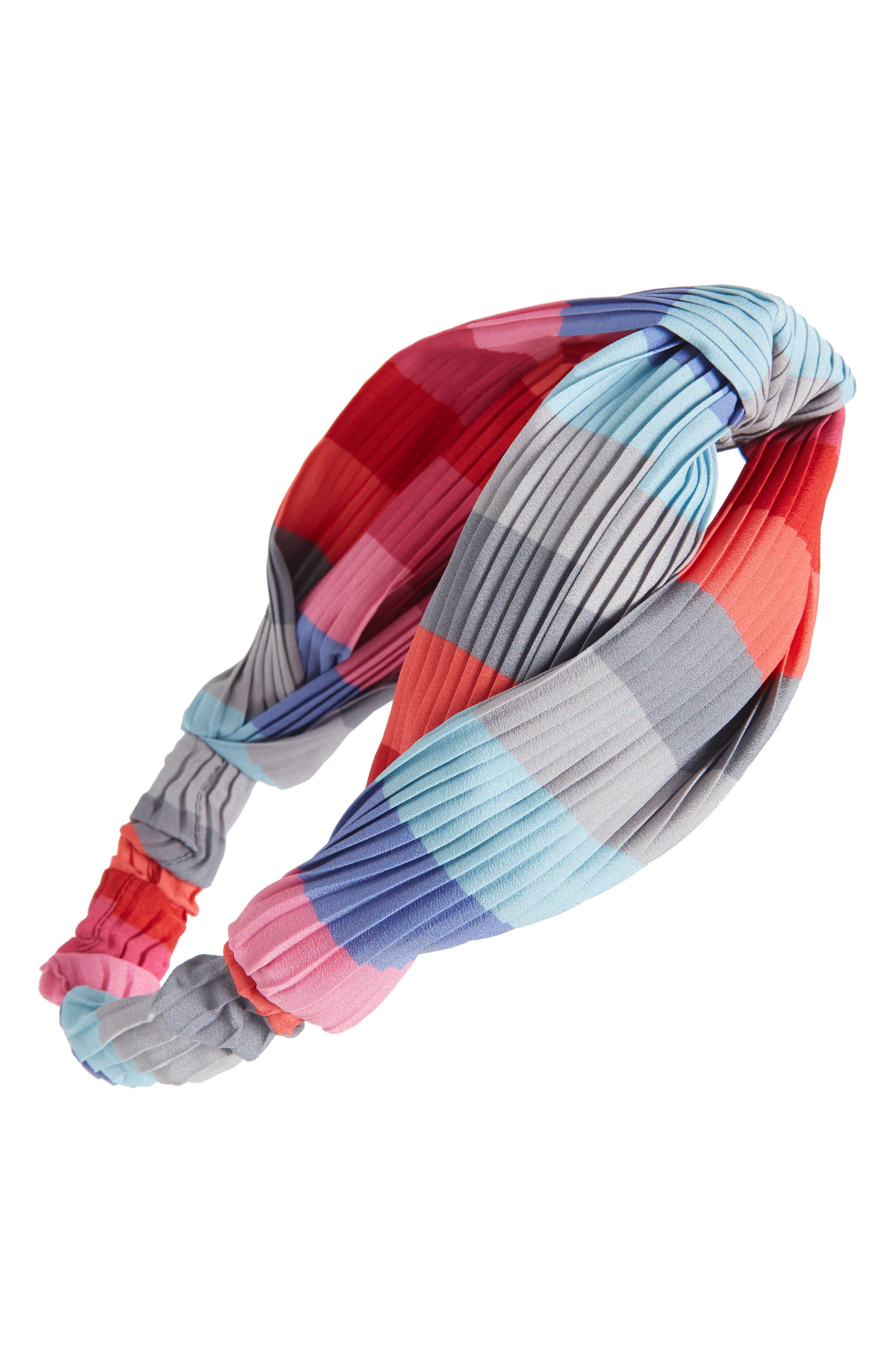 CARA, Rainbow Twist Pleated Head Wrap, Main thumbnail 1, color, PINK MULTI