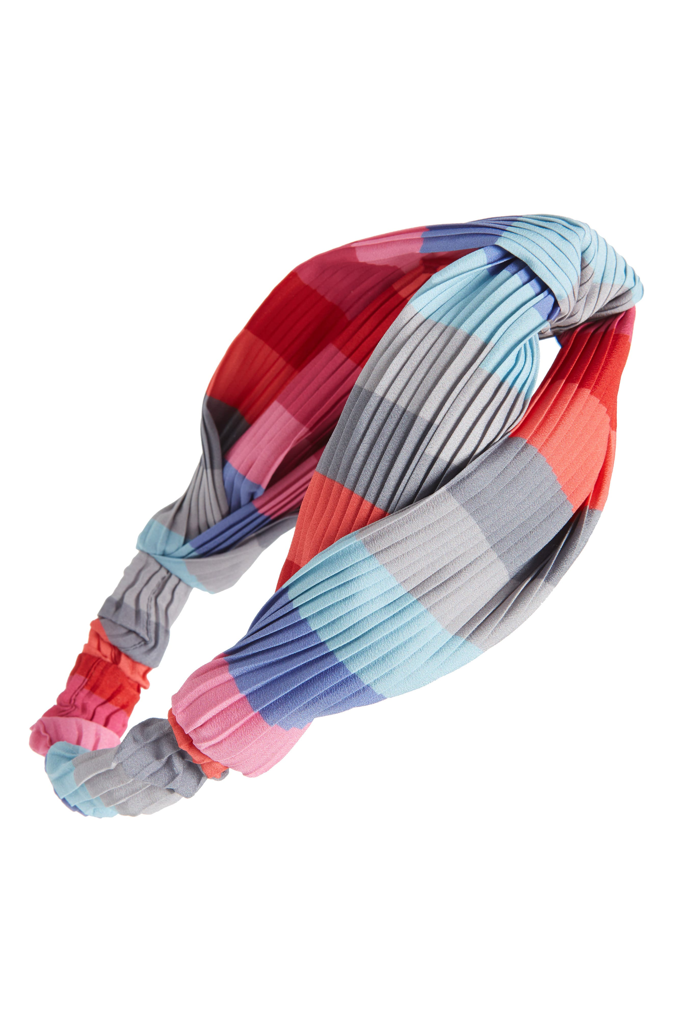 CARA Rainbow Twist Pleated Head Wrap, Main, color, PINK MULTI