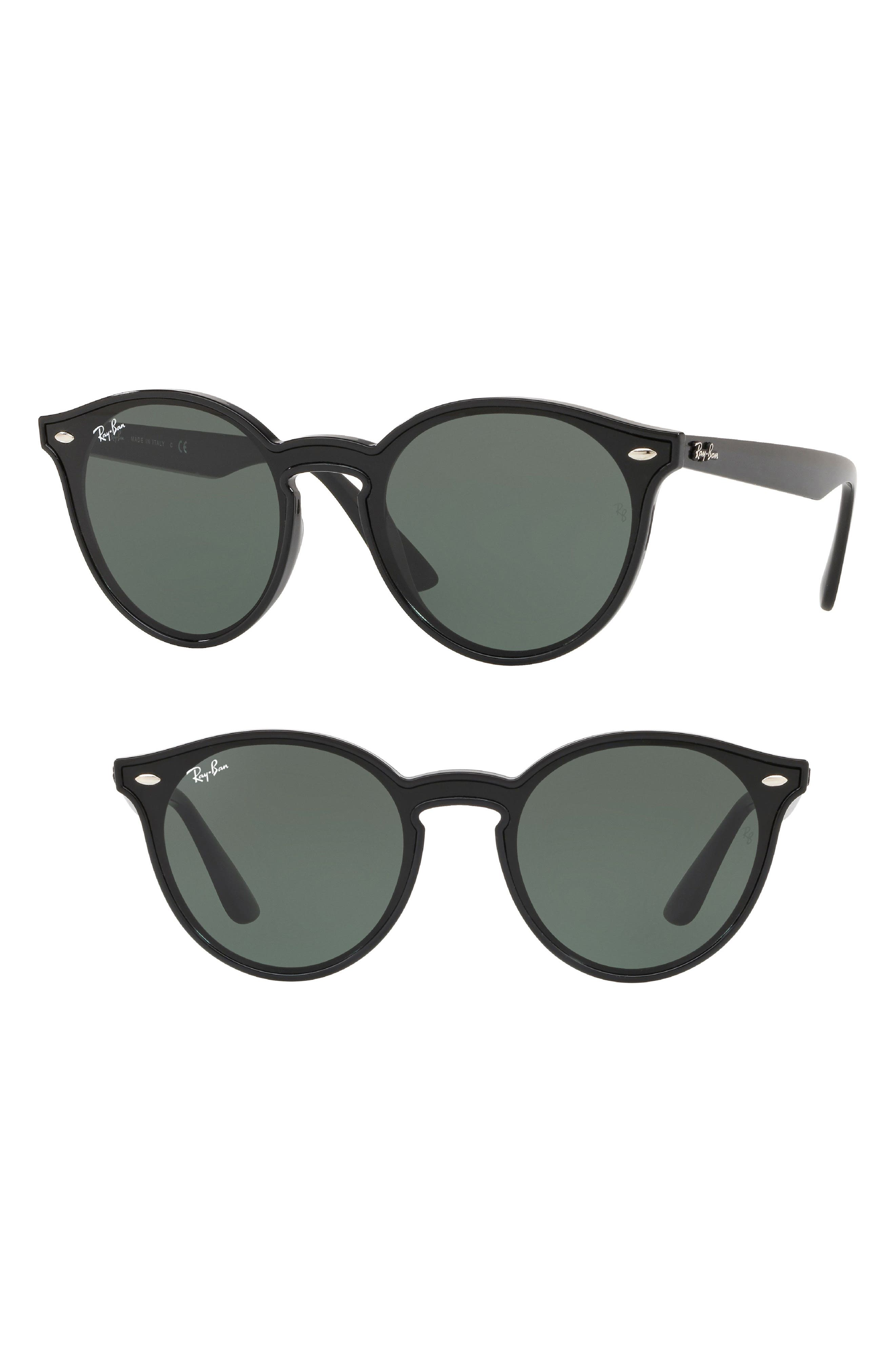 RAY-BAN Blaze 37mm Round Sunglasses, Main, color, BLACK SOLID