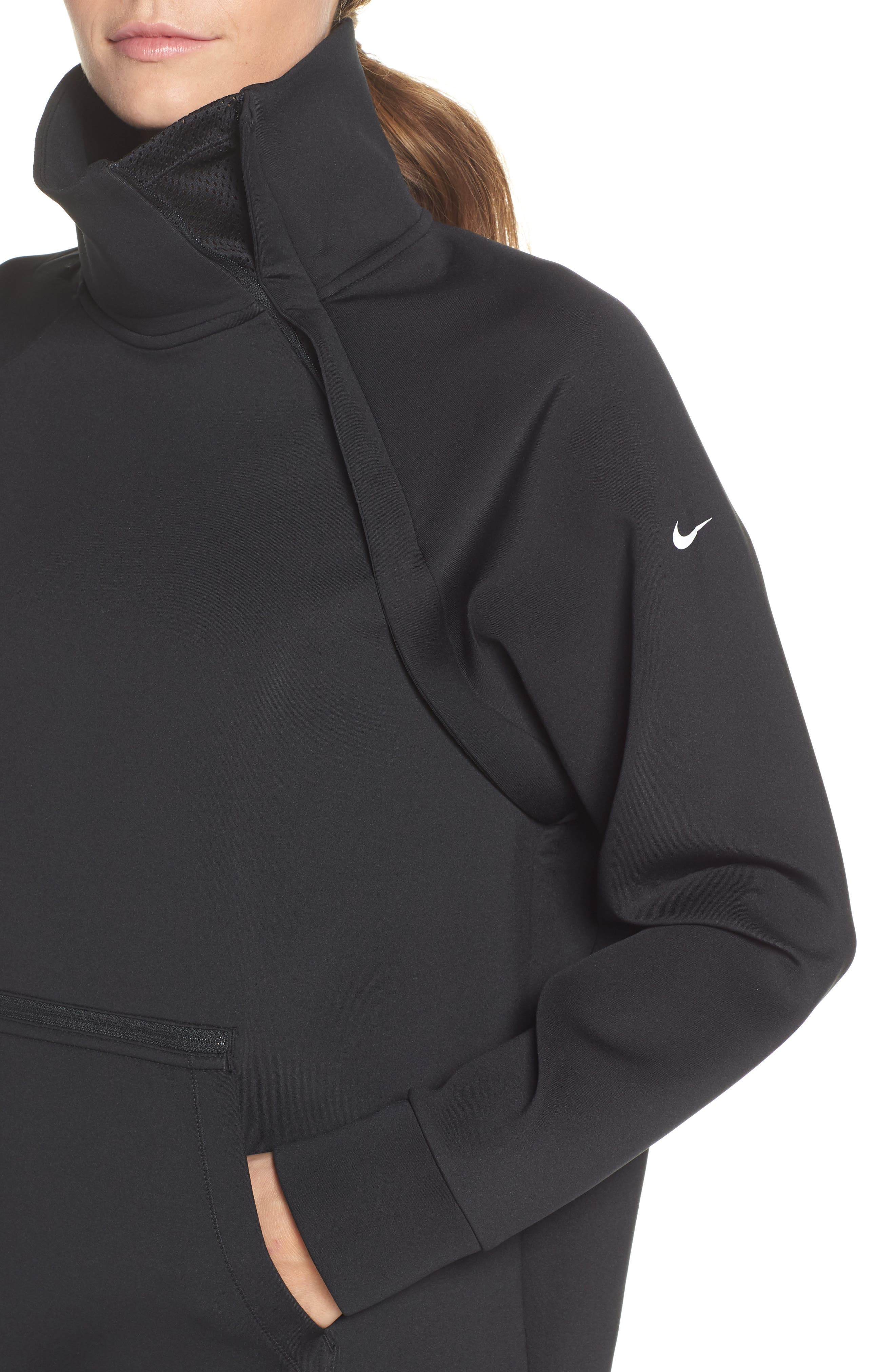 NIKE, Mock Neck Zip Pullover, Alternate thumbnail 5, color, 010